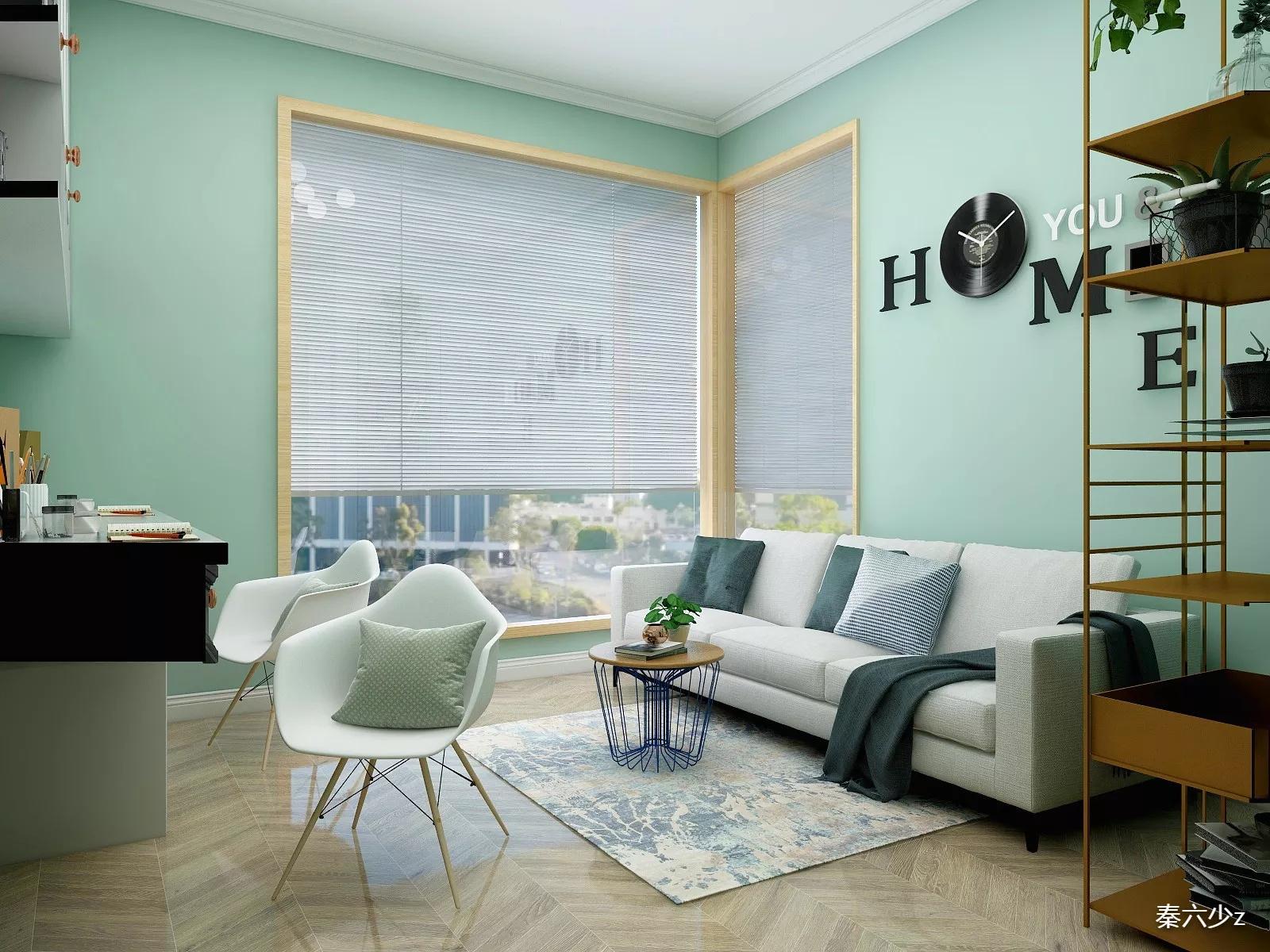85平宜家风格清新两居室客厅装修图