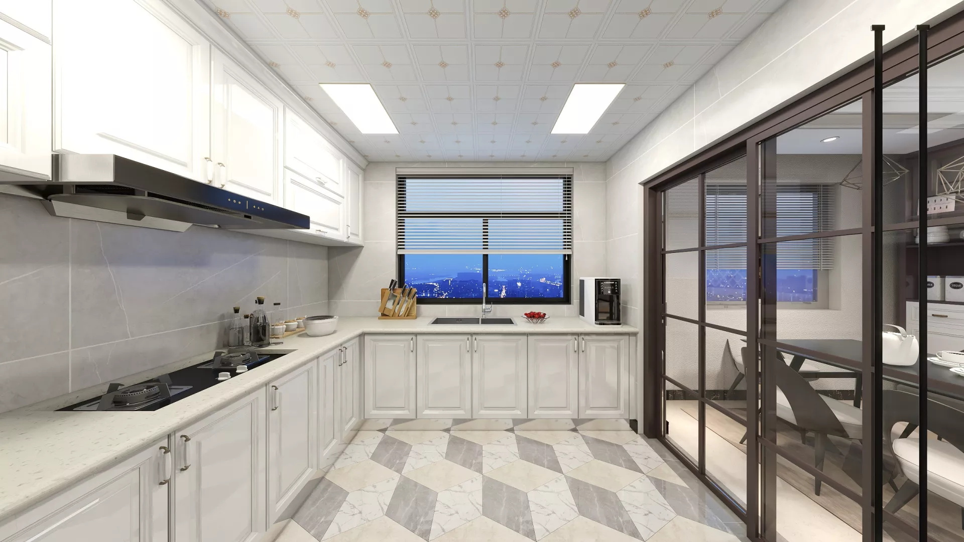 黑白时尚厨房吧台设计