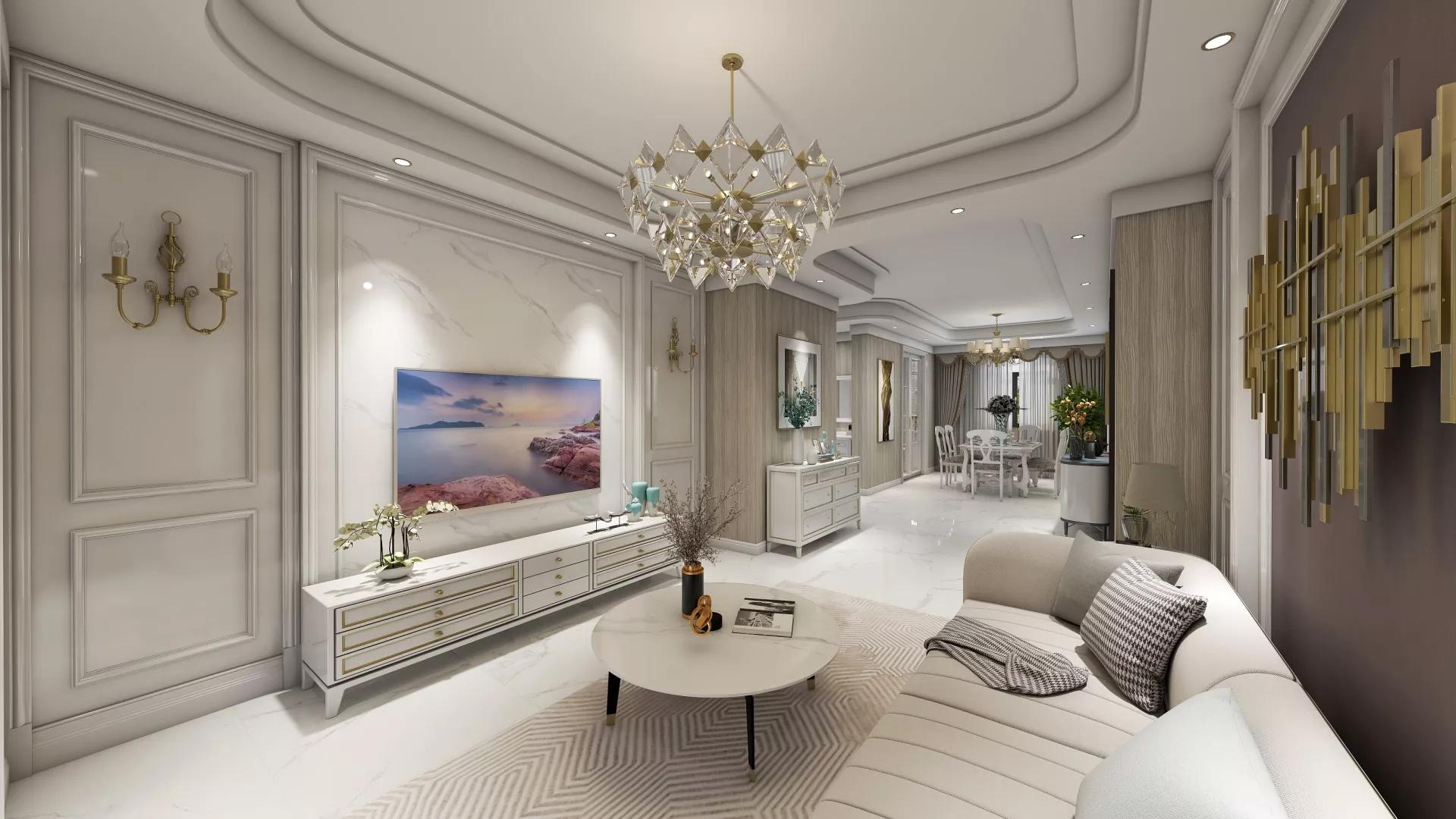 120平米装修富裕大气型客厅装修效果图