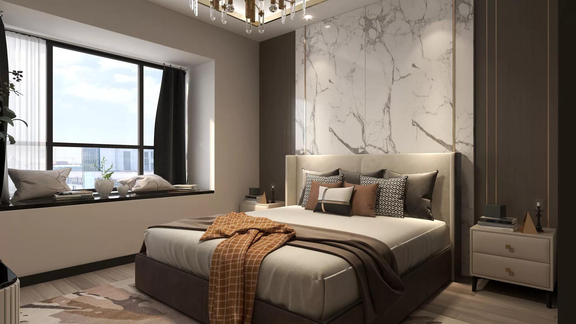 黑色时尚风格三居室装修效果图