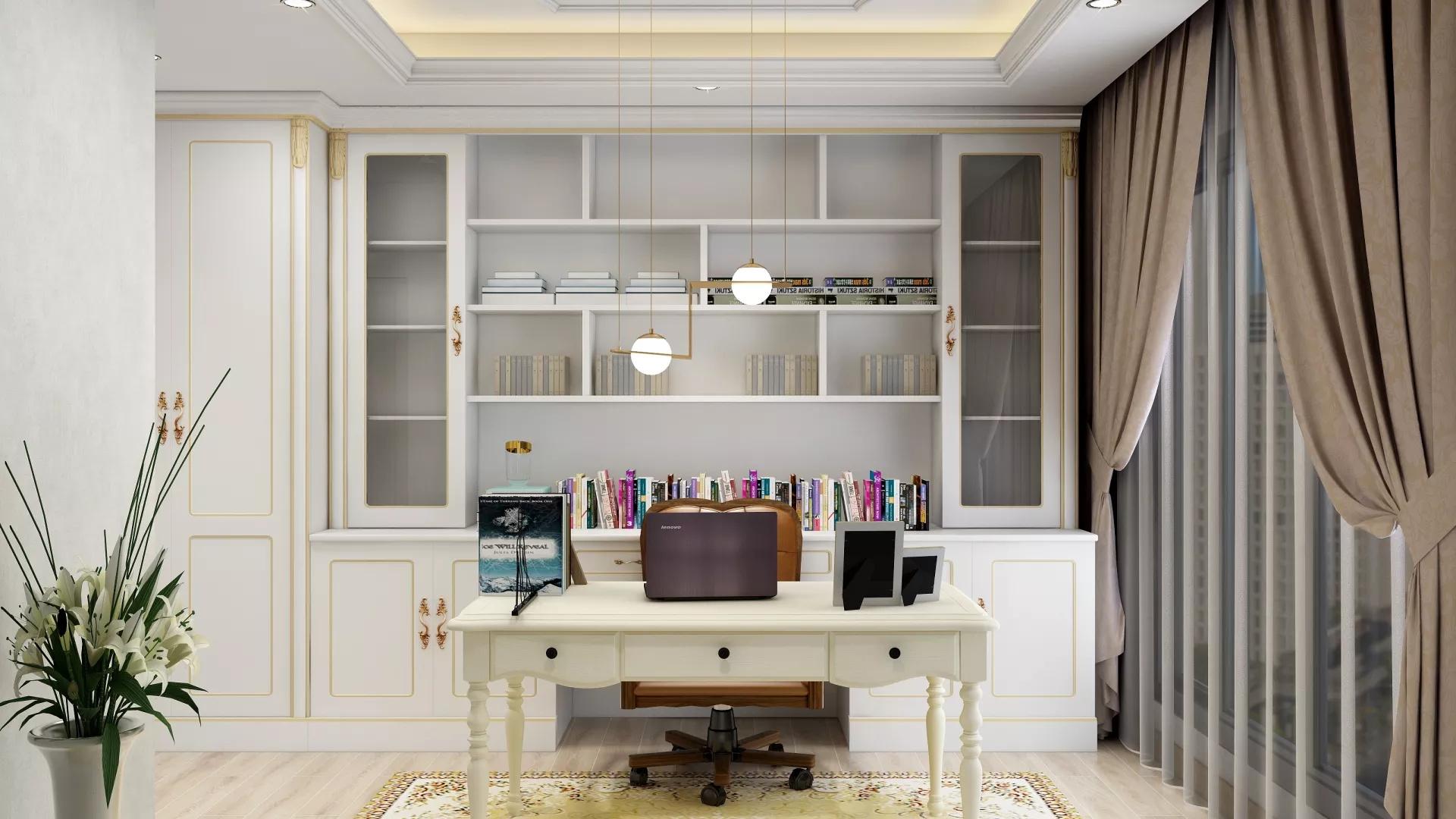 书房,榻榻米,书桌,简洁,温馨