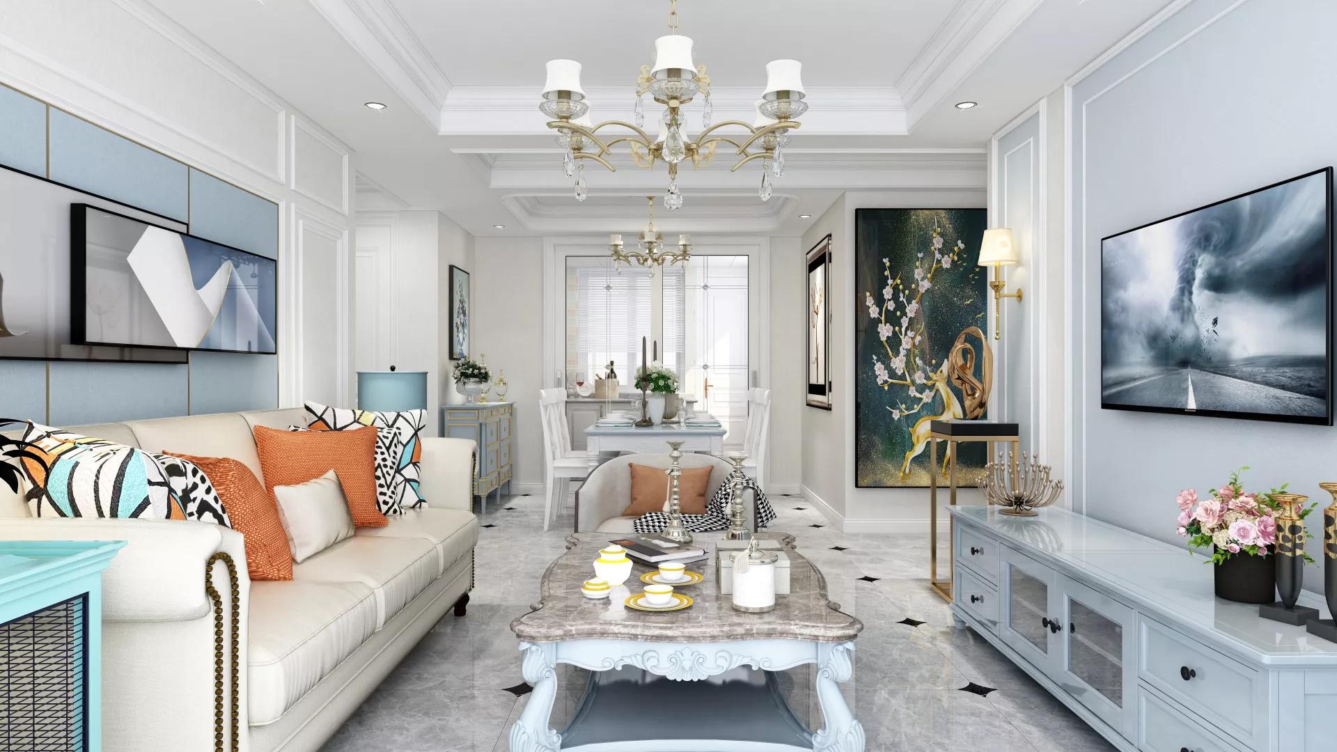 88平米二居室精装客厅沙发装修效果图