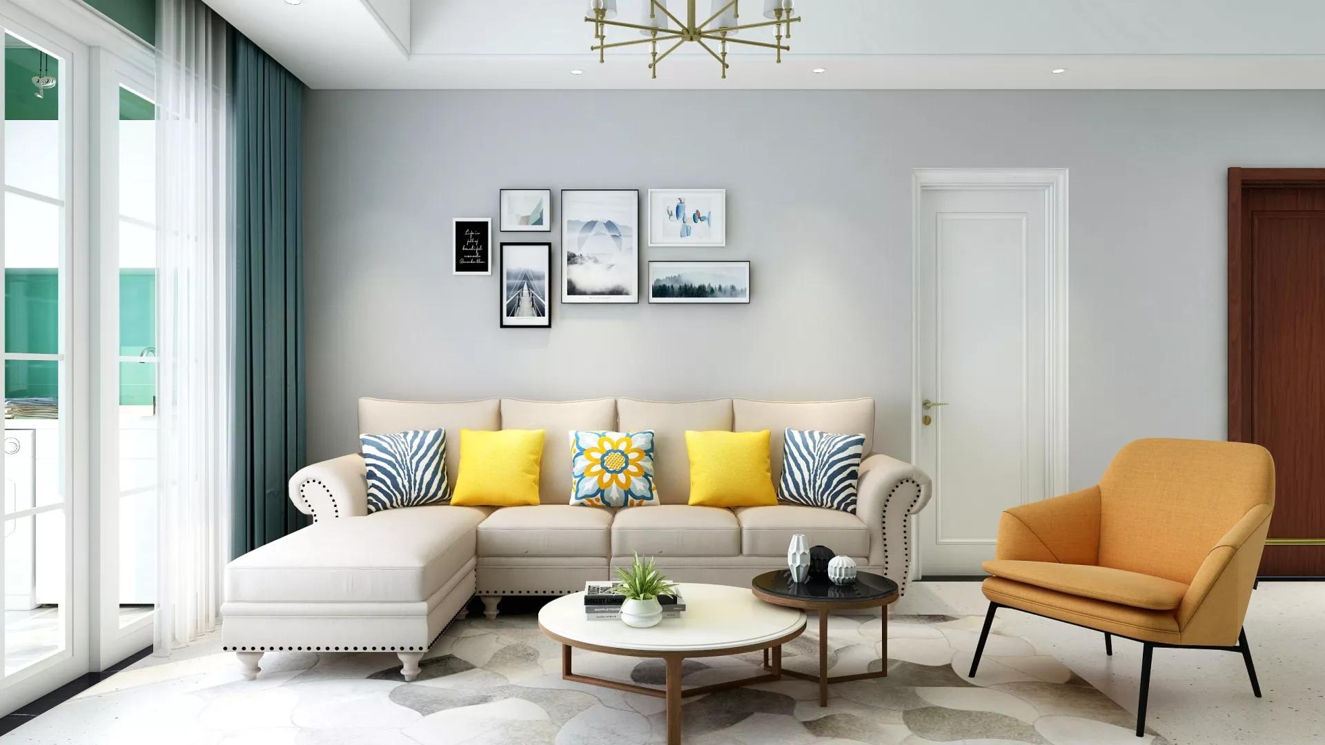 88平米二居室简约风格客厅装修效果图