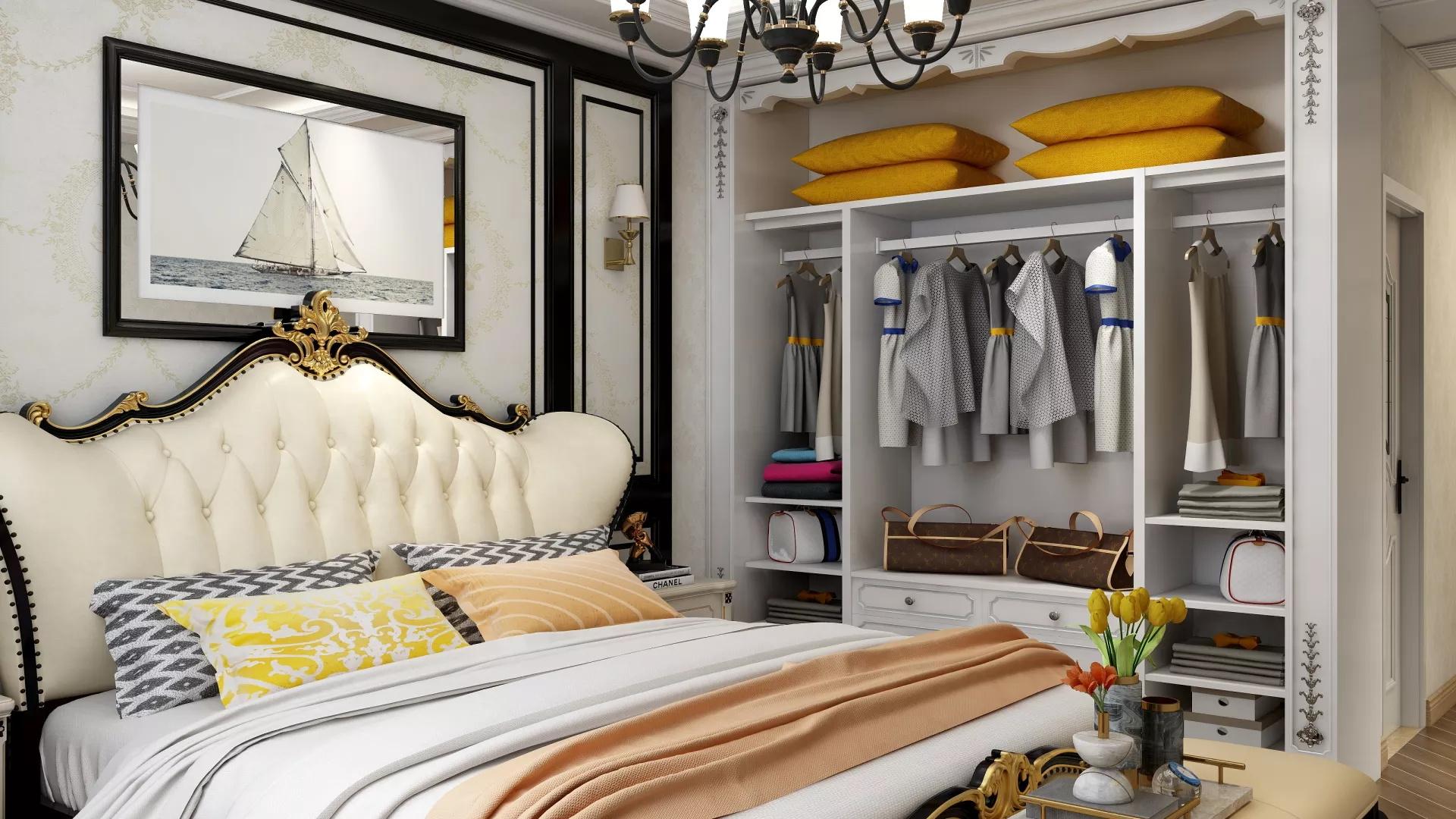 欧式风格温馨稳重型卧室装修效果图
