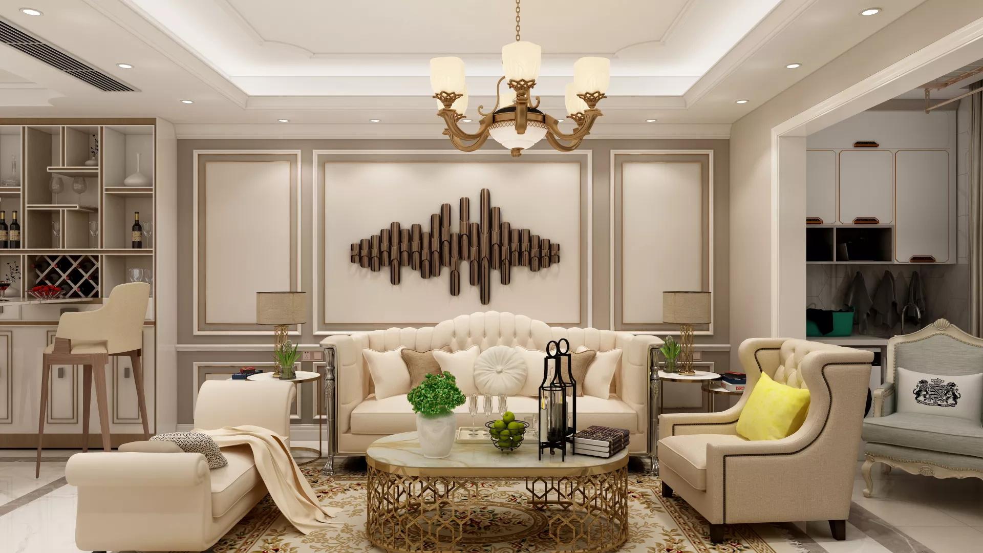 欧式风格富裕型浪漫客厅装修效果图