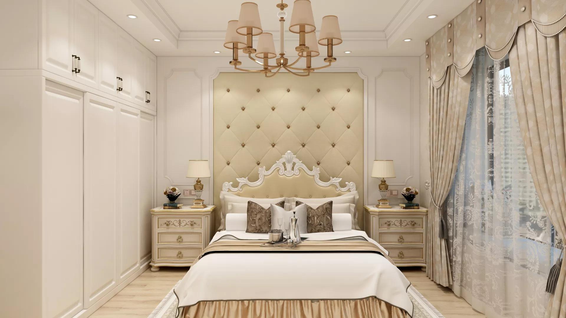 低奢简欧风卧室碎花床头背景墙设计效果图