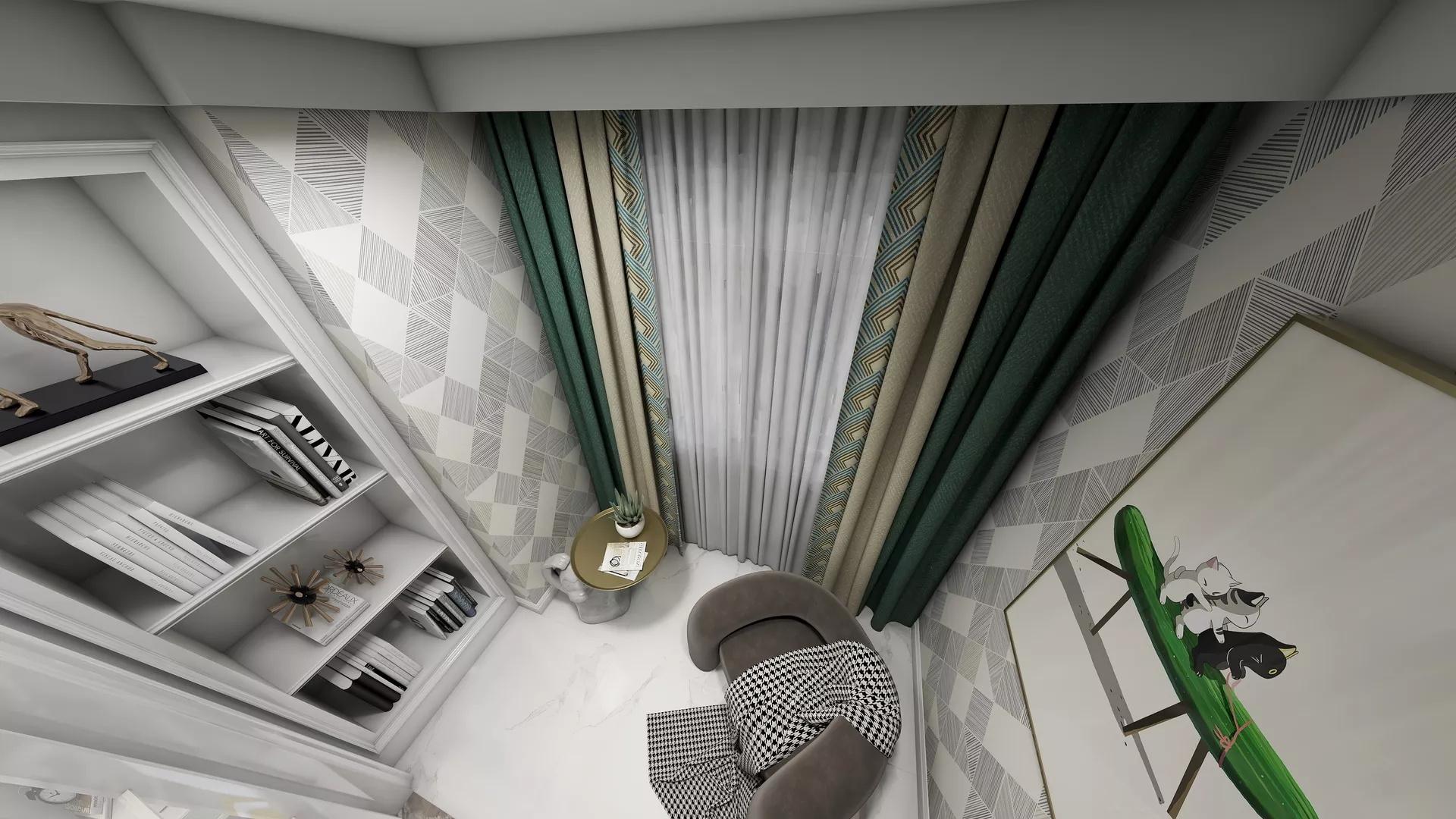 极简风格厨房吧台设计效果图