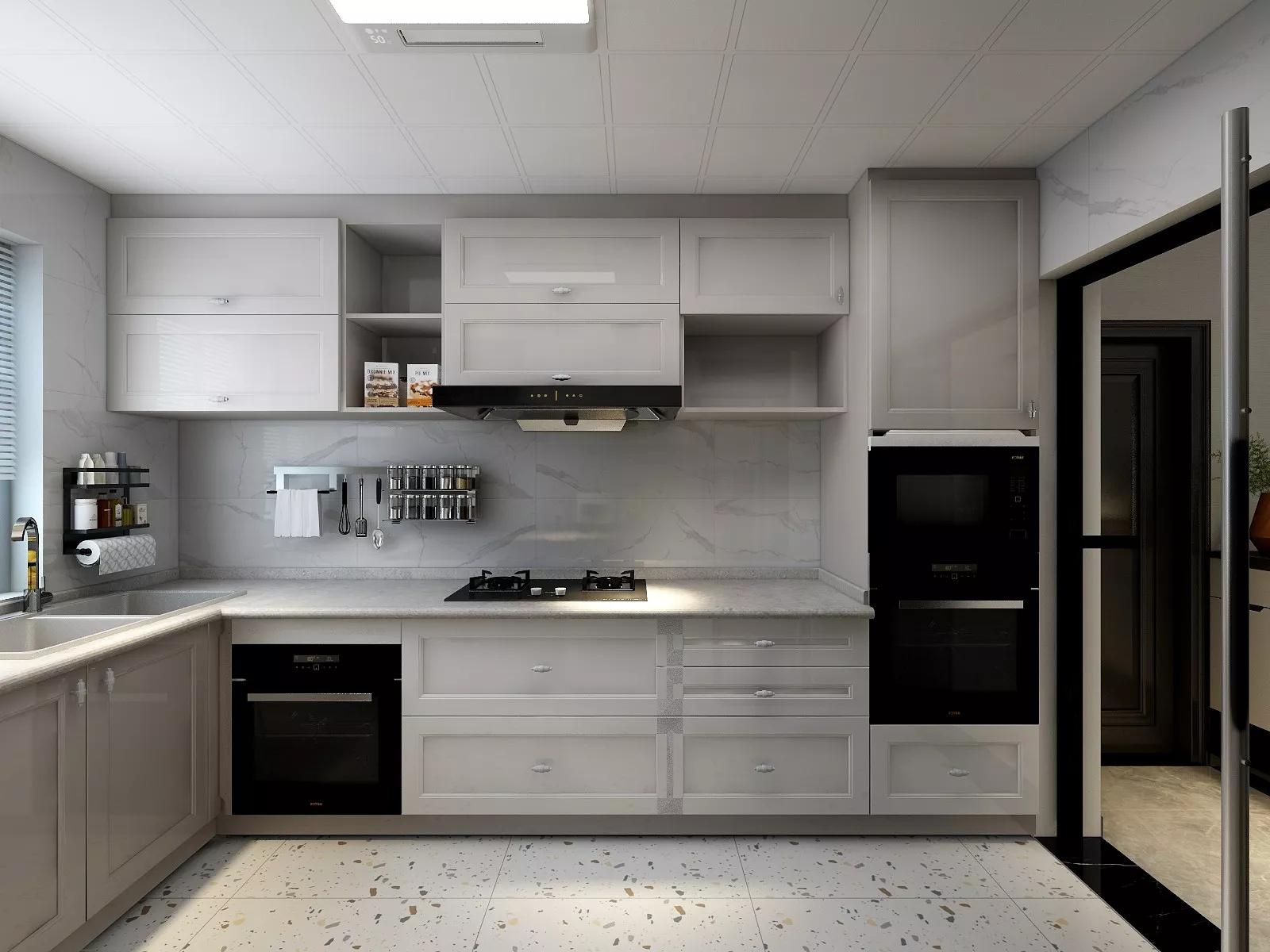u字形简约风格厨房橱柜装修效果图