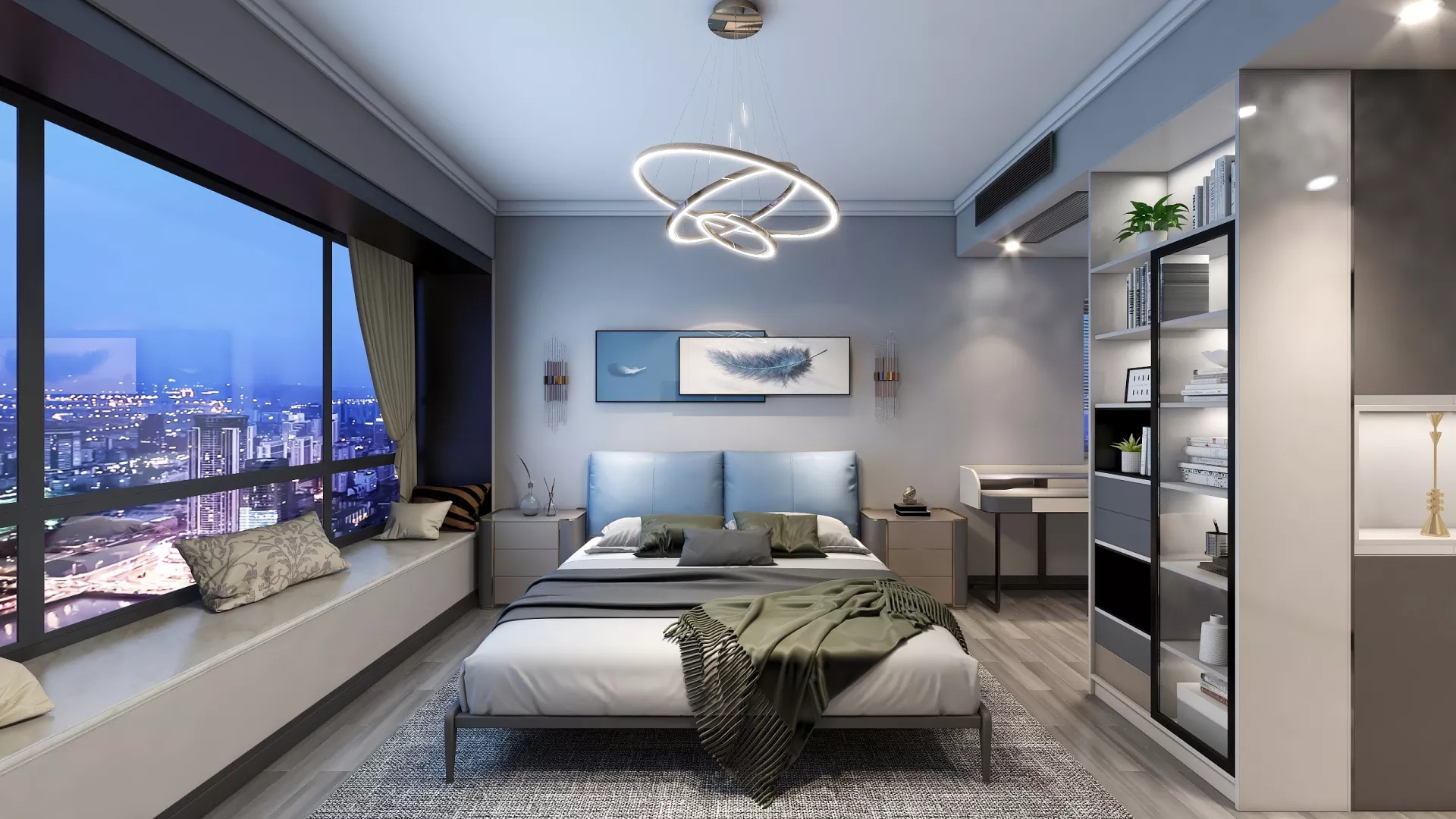 三居室别墅卧室背景墙装修设计效果图