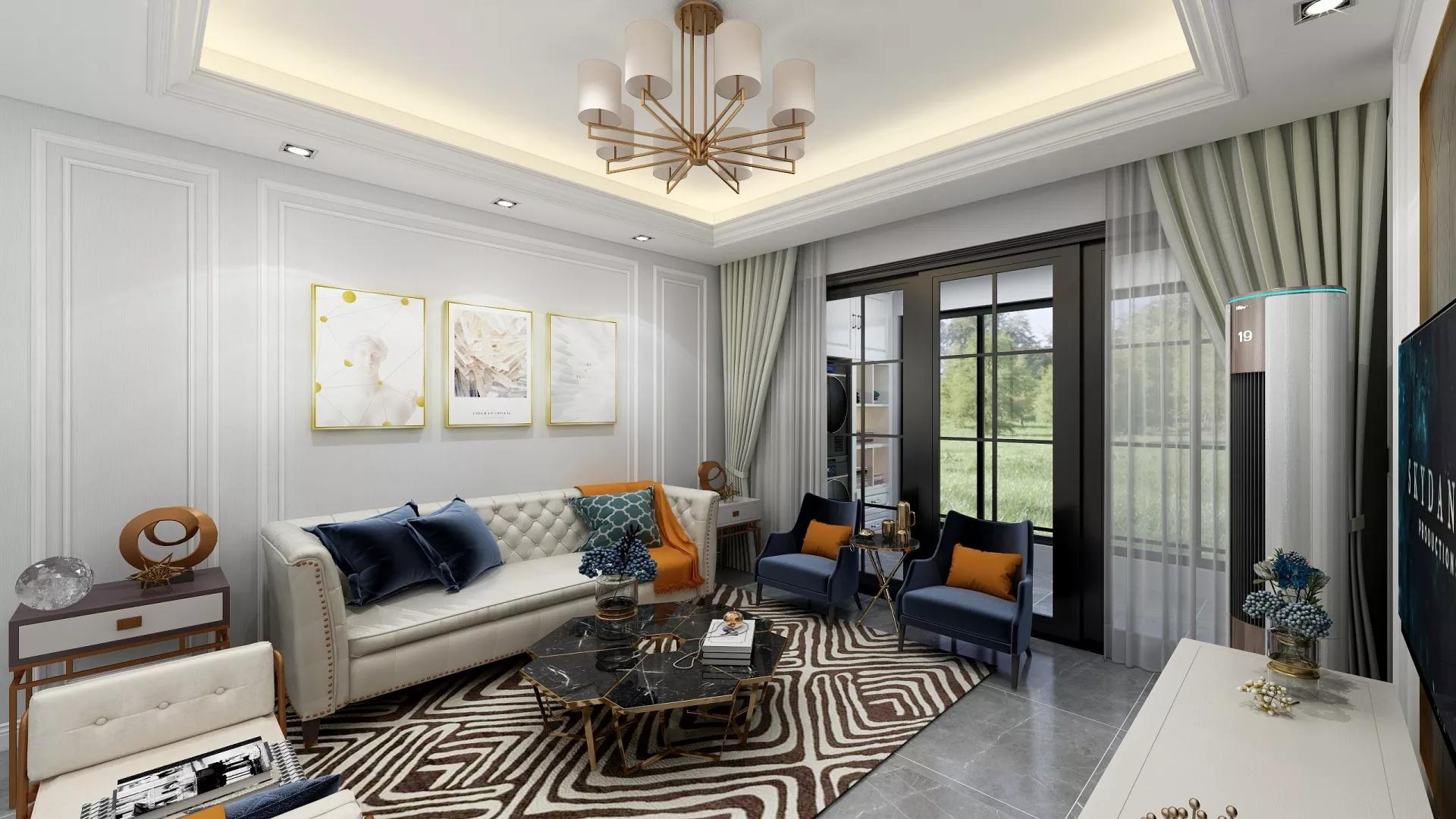 简洁白色现代风格客厅装修效果图