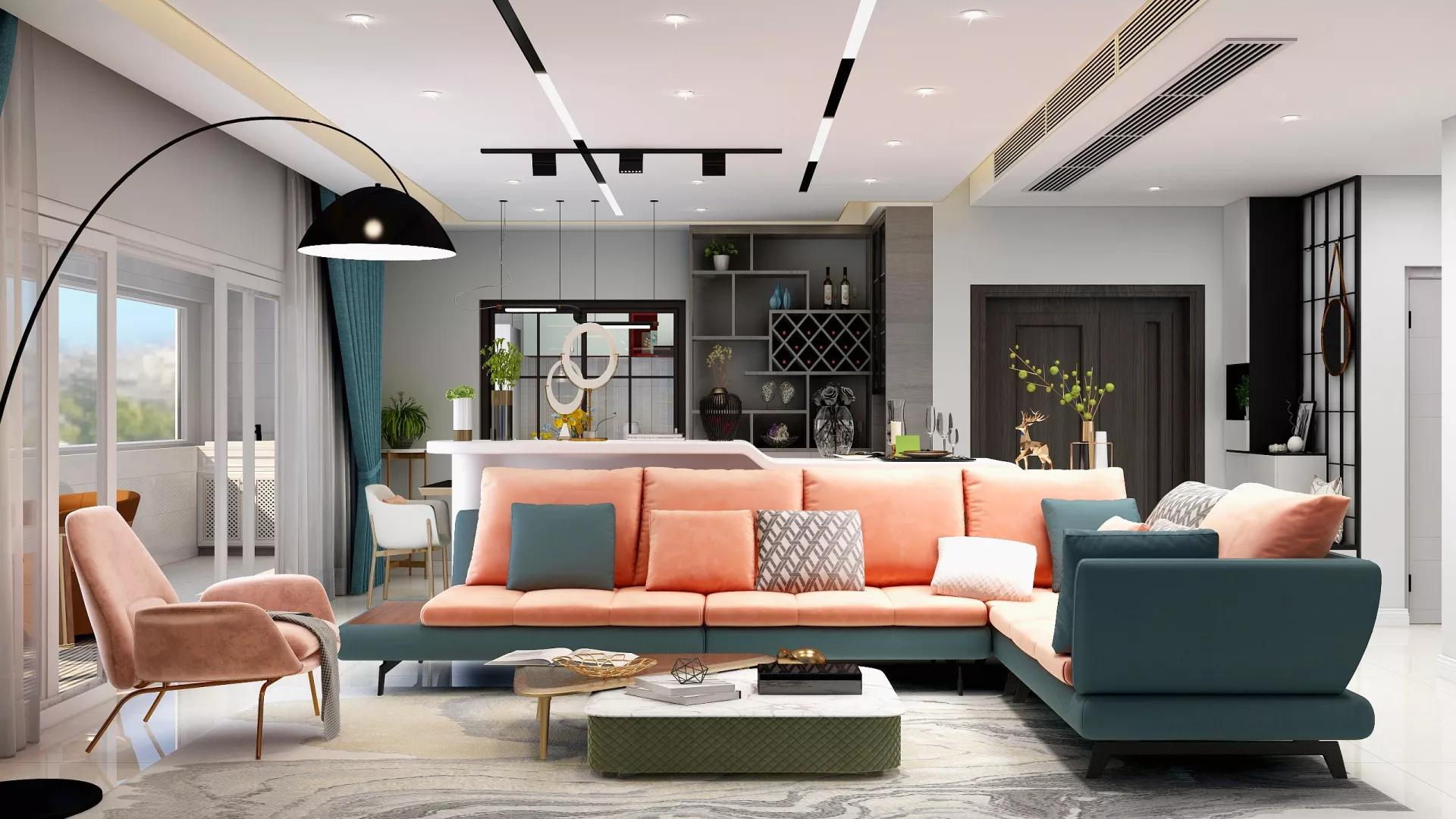 220㎡现代法式风的多元化演绎别墅客厅效果图