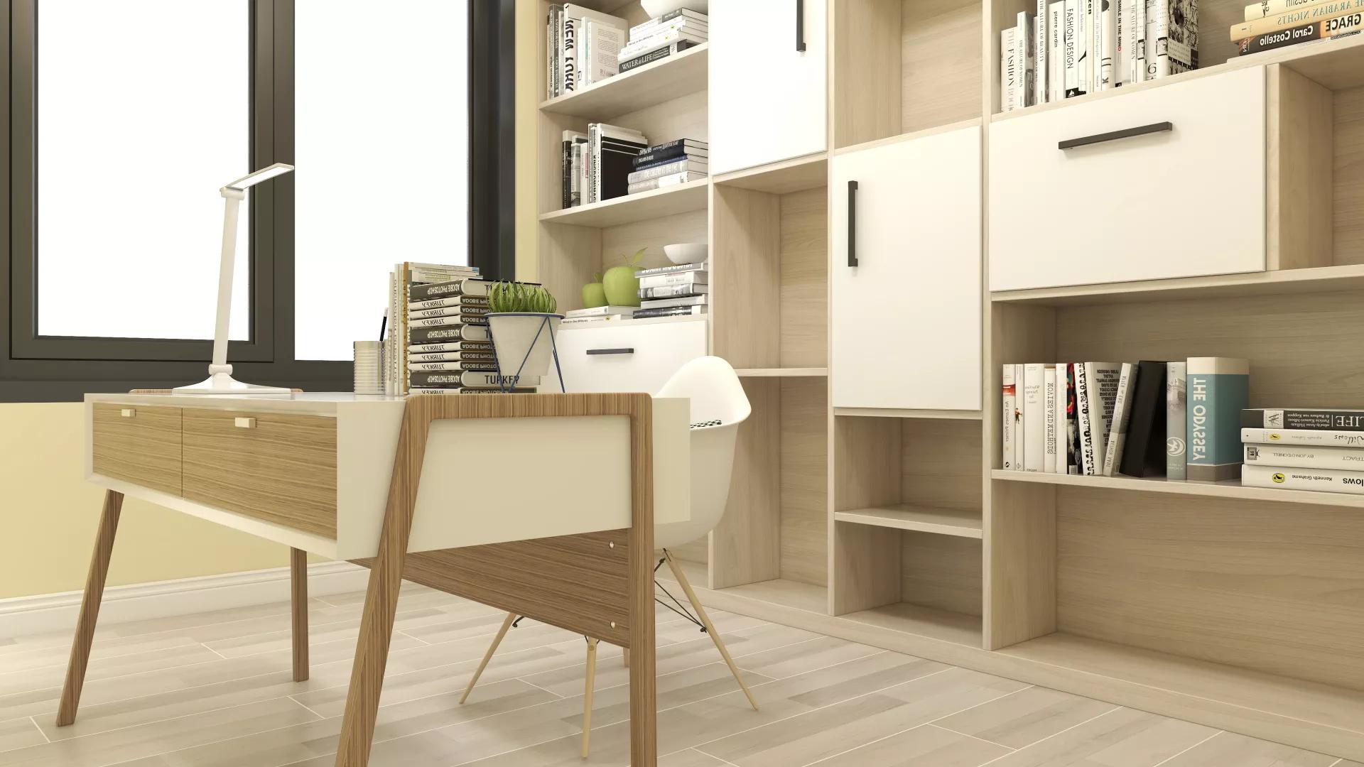 73㎡北欧原木风小户型客厅装修效果图