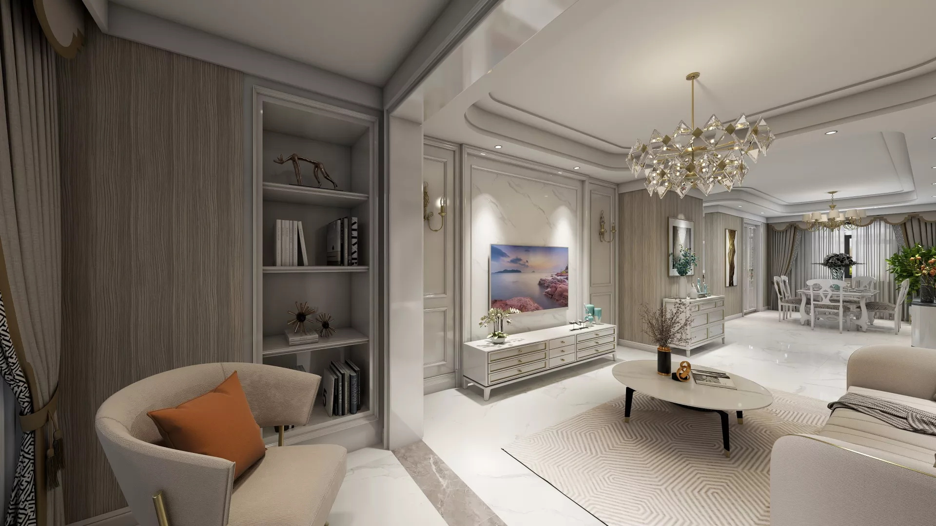 玉园私人别墅客厅吊顶装修设计效果图
