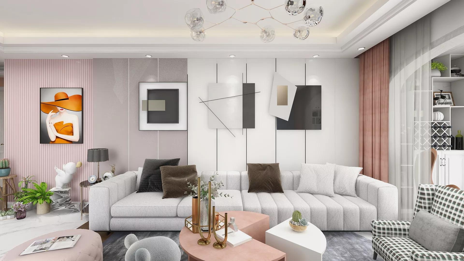 美式轻奢三室两厅飘窗装修效果图