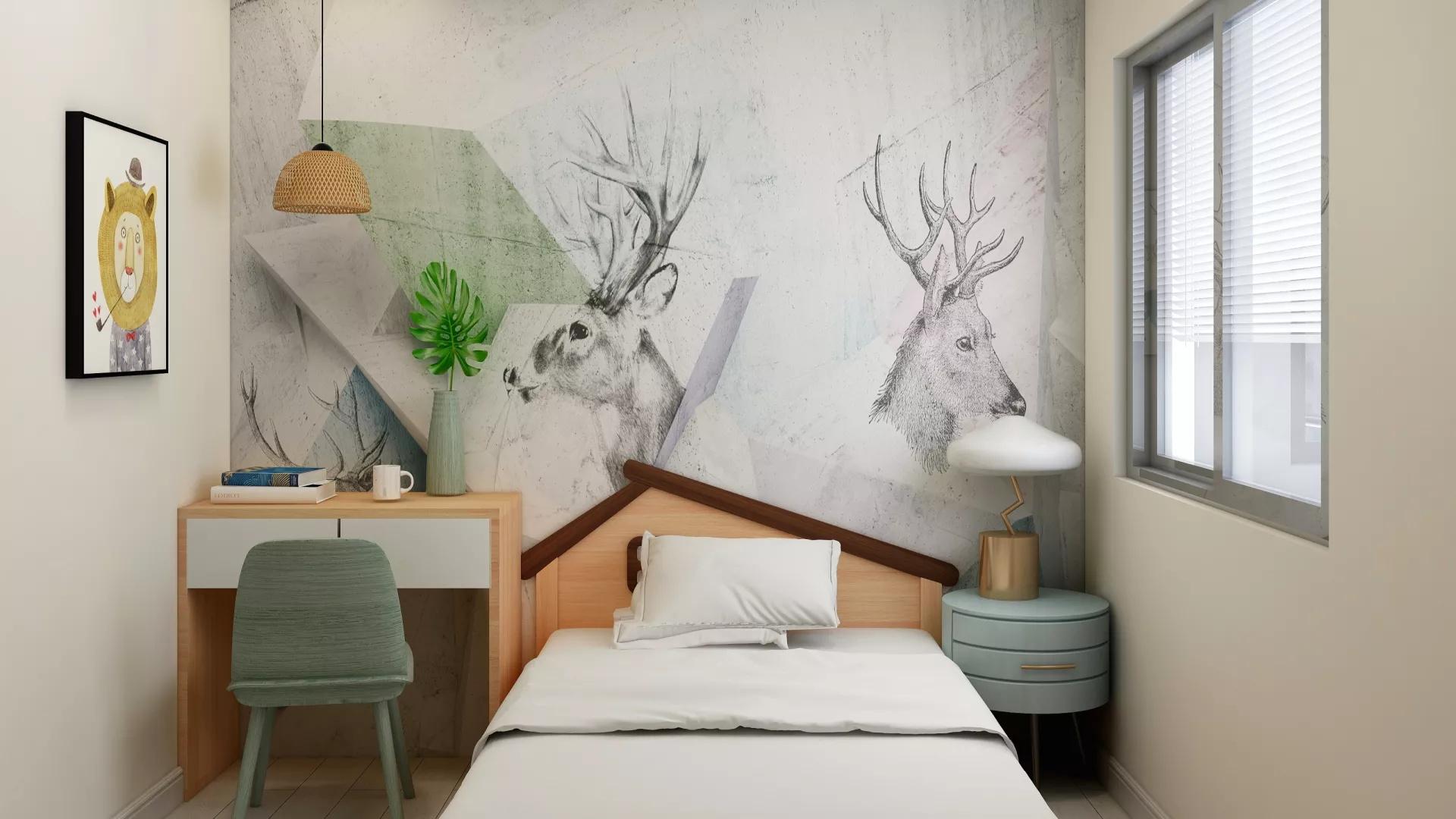 美式乡村风格大气型卧室床装修效果图
