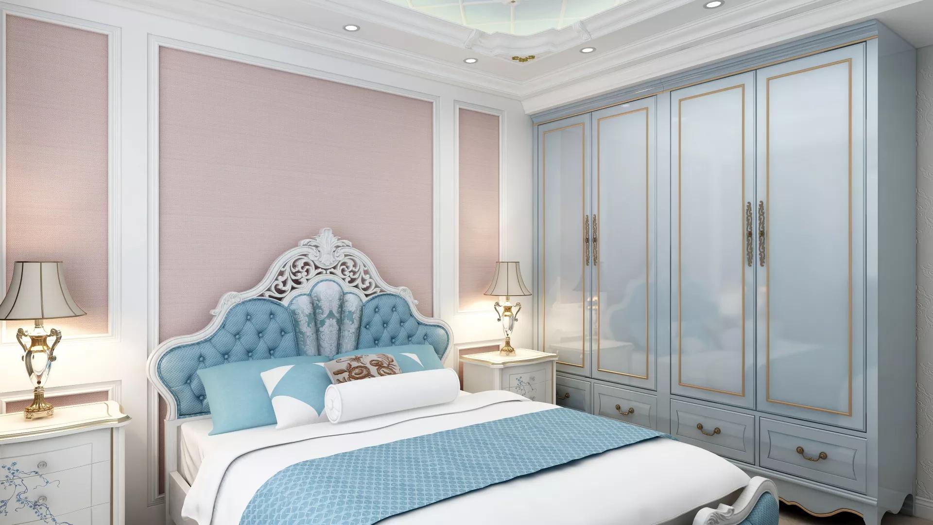 欧式风格洋房卧室吊顶装修设计效果图