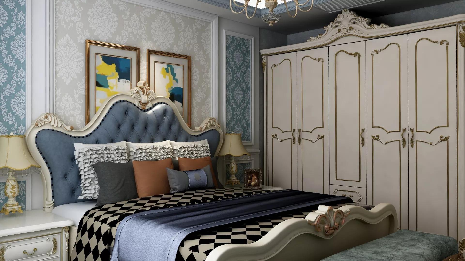法式风格客厅吊顶墙装修效果图