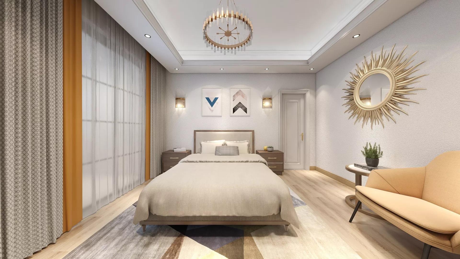 灰色简洁风格卧室装修设计效果图
