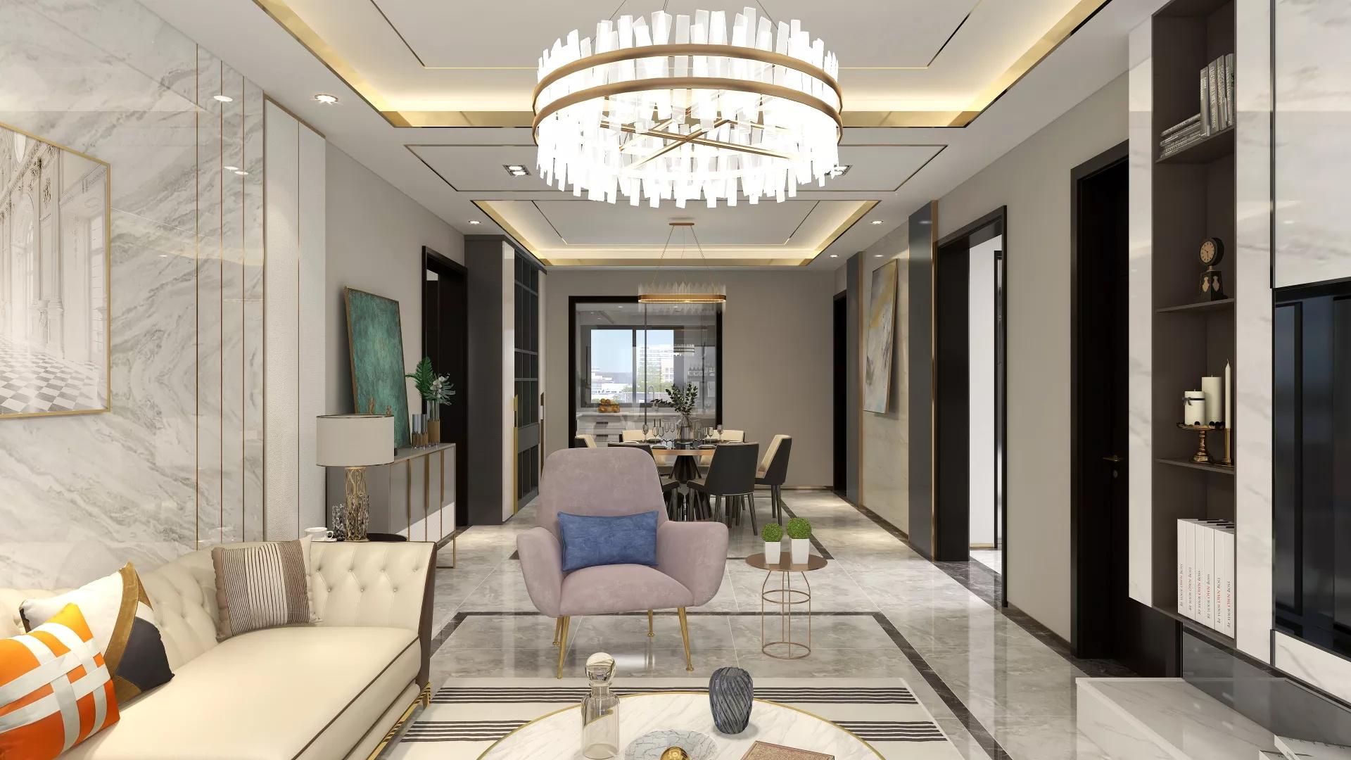 新中式艺术风格层次感强的客厅设计效果图