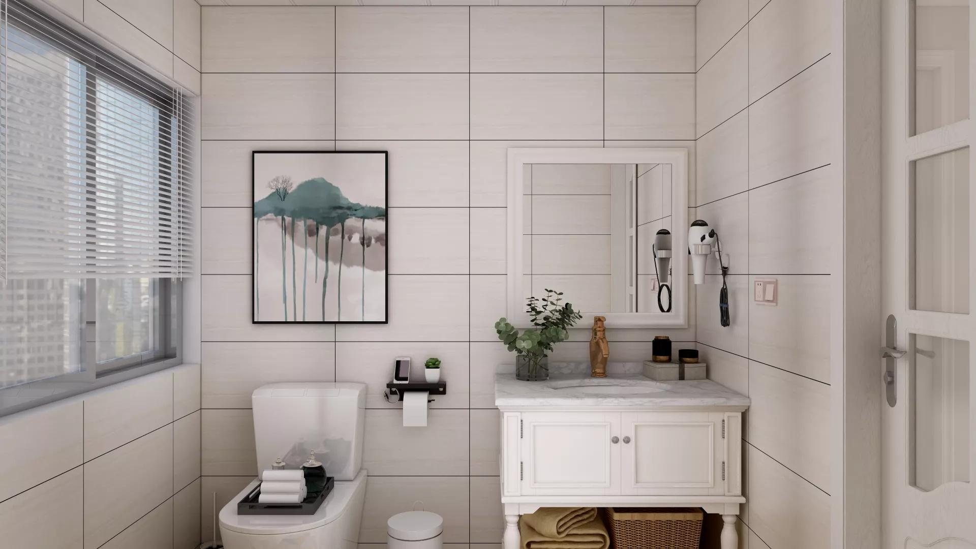 112㎡现代美式三居室客厅装修效果图