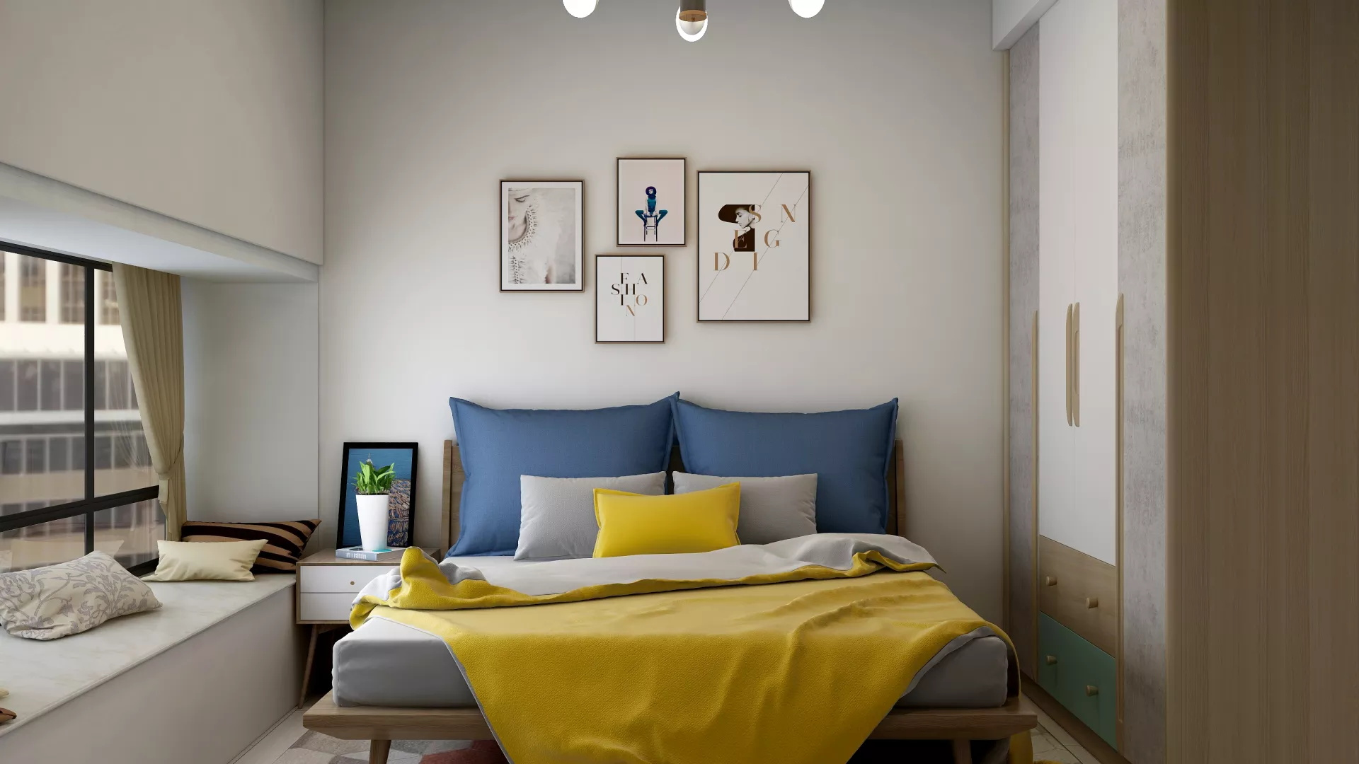 128平美式婚房温馨浪漫品质客厅设计效果图