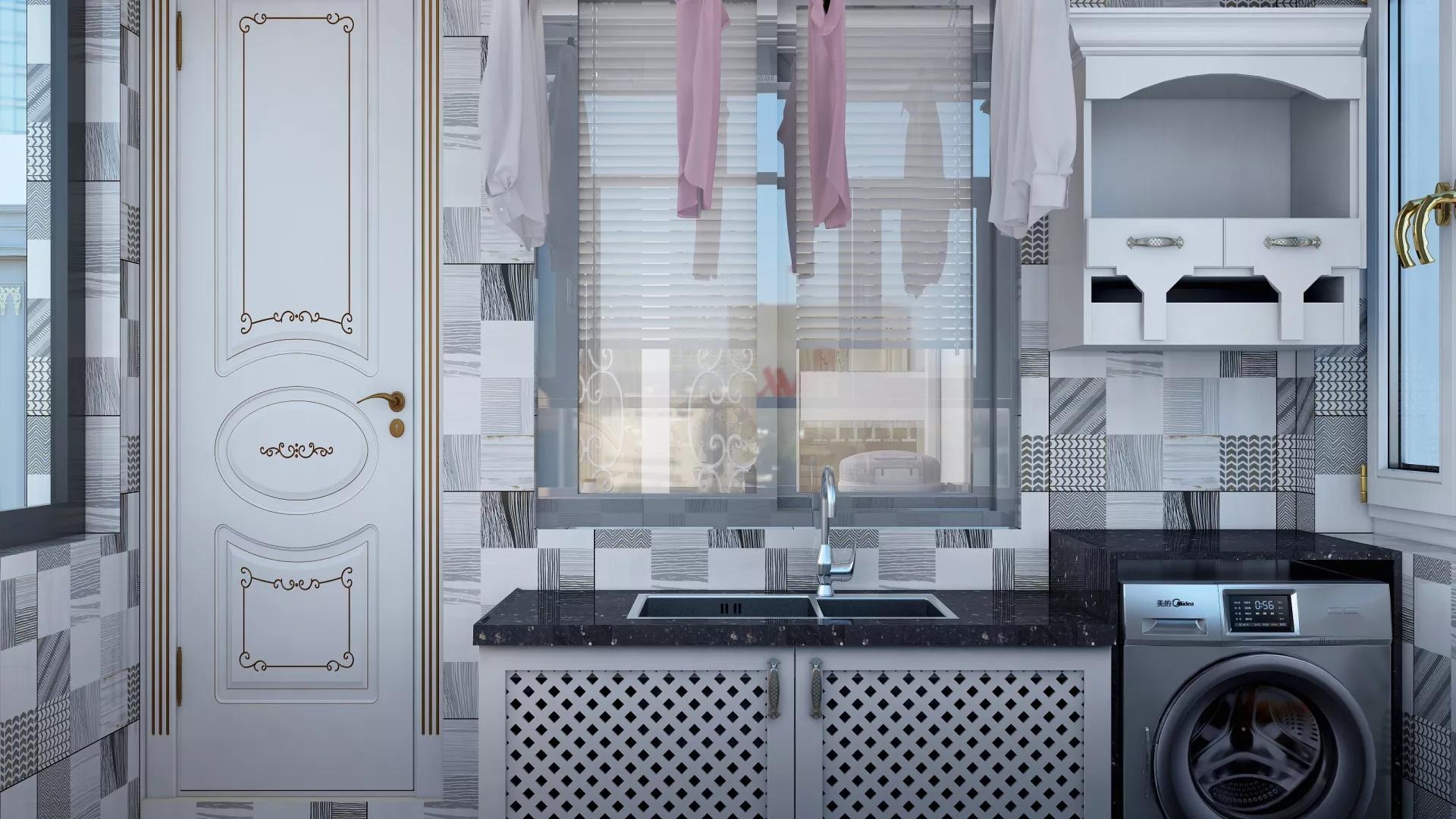 138㎡现代美式简洁硬朗淡雅的客厅装修效果图