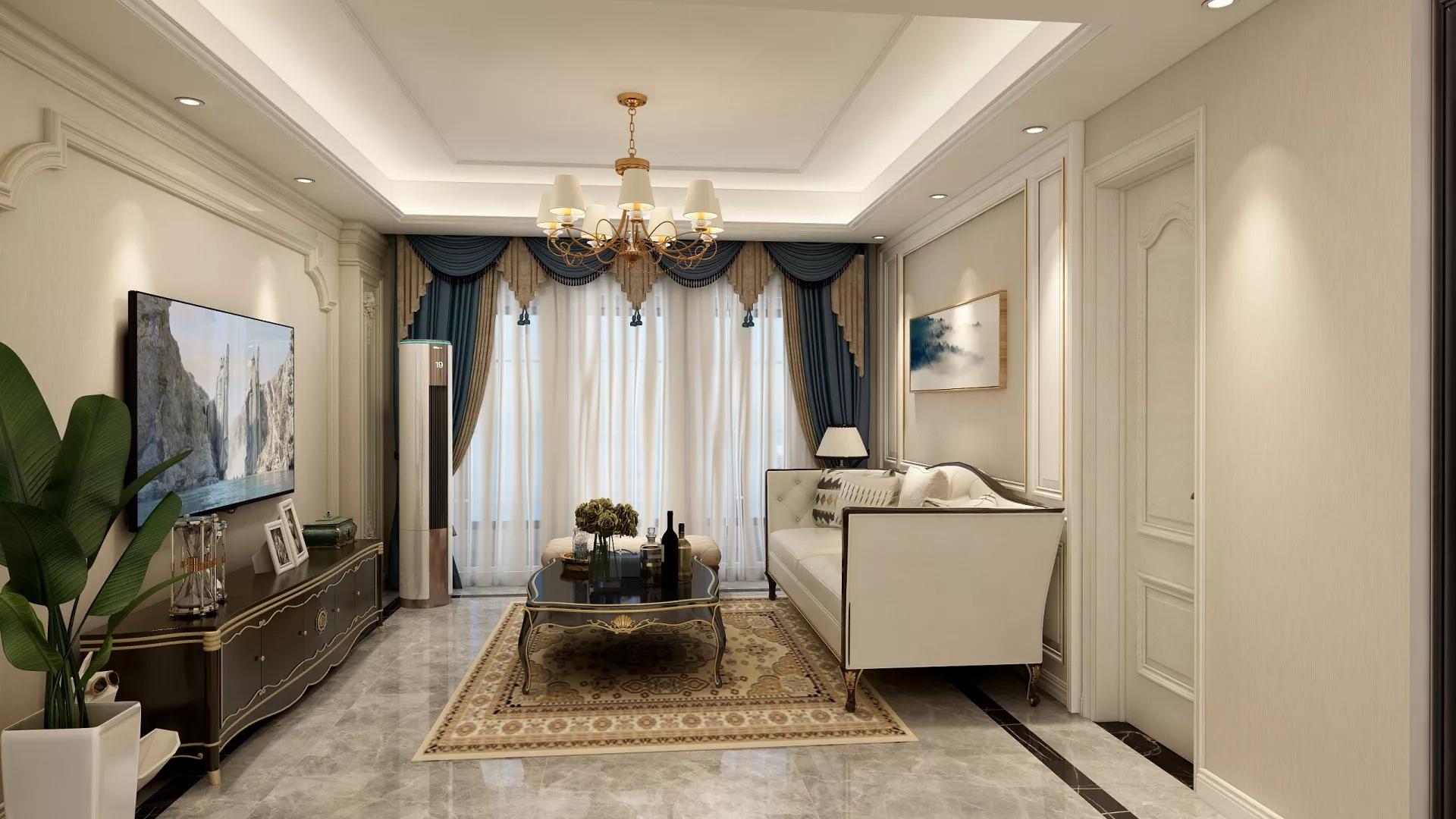 简约温馨蓝色风格卧室装修效果图