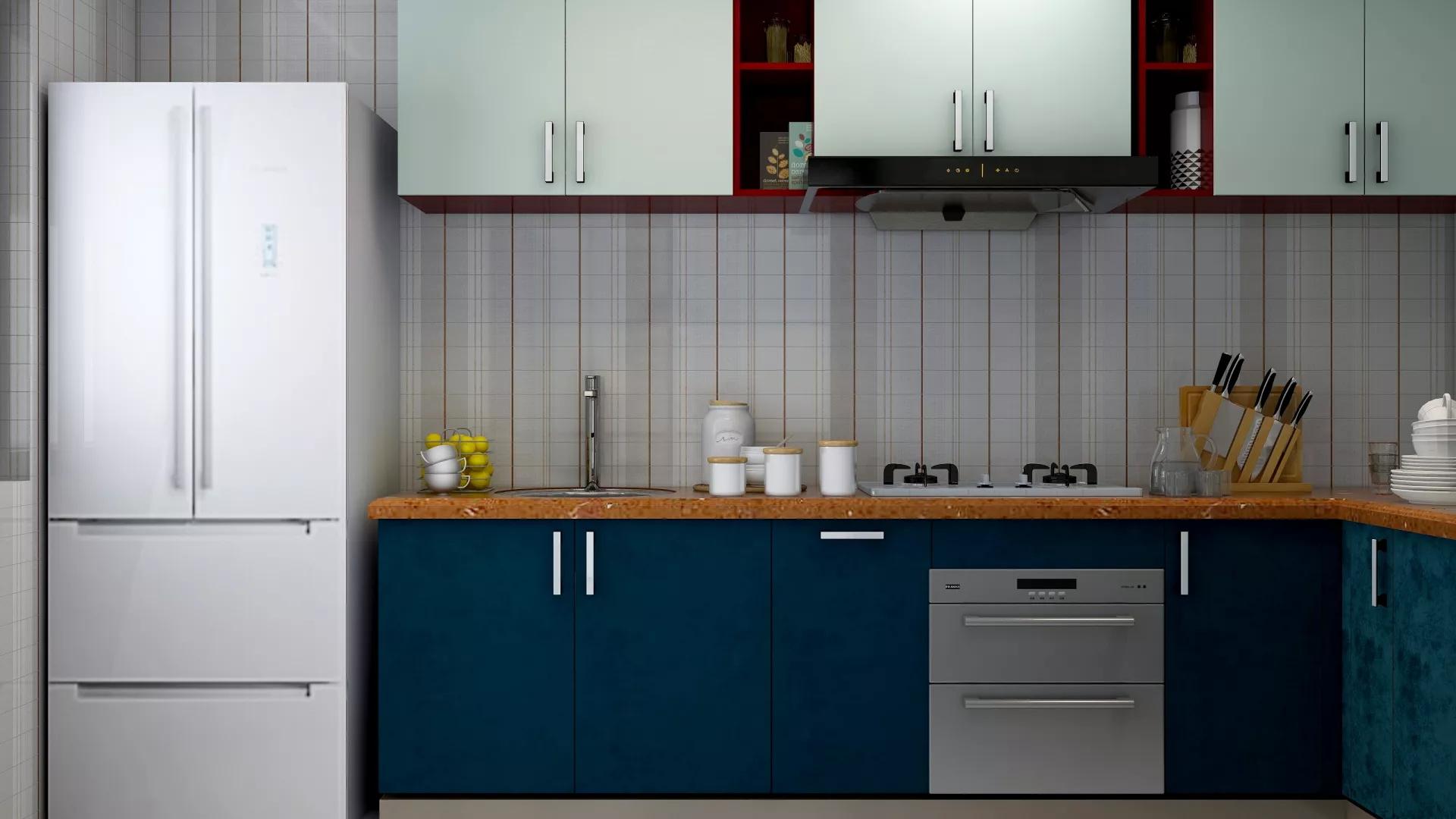艺术简约风格厨房吧台设计效果图