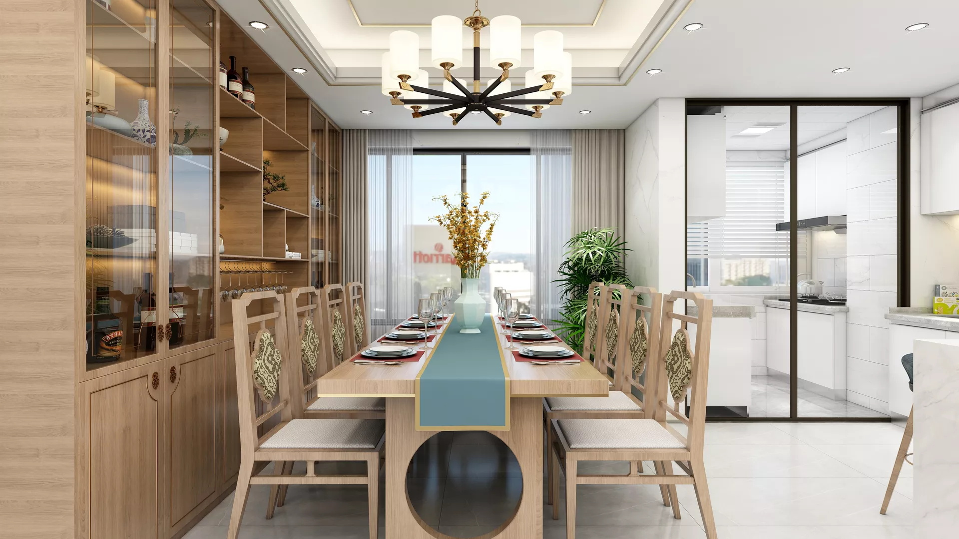 现代简约厨房吧台装修设计效果图