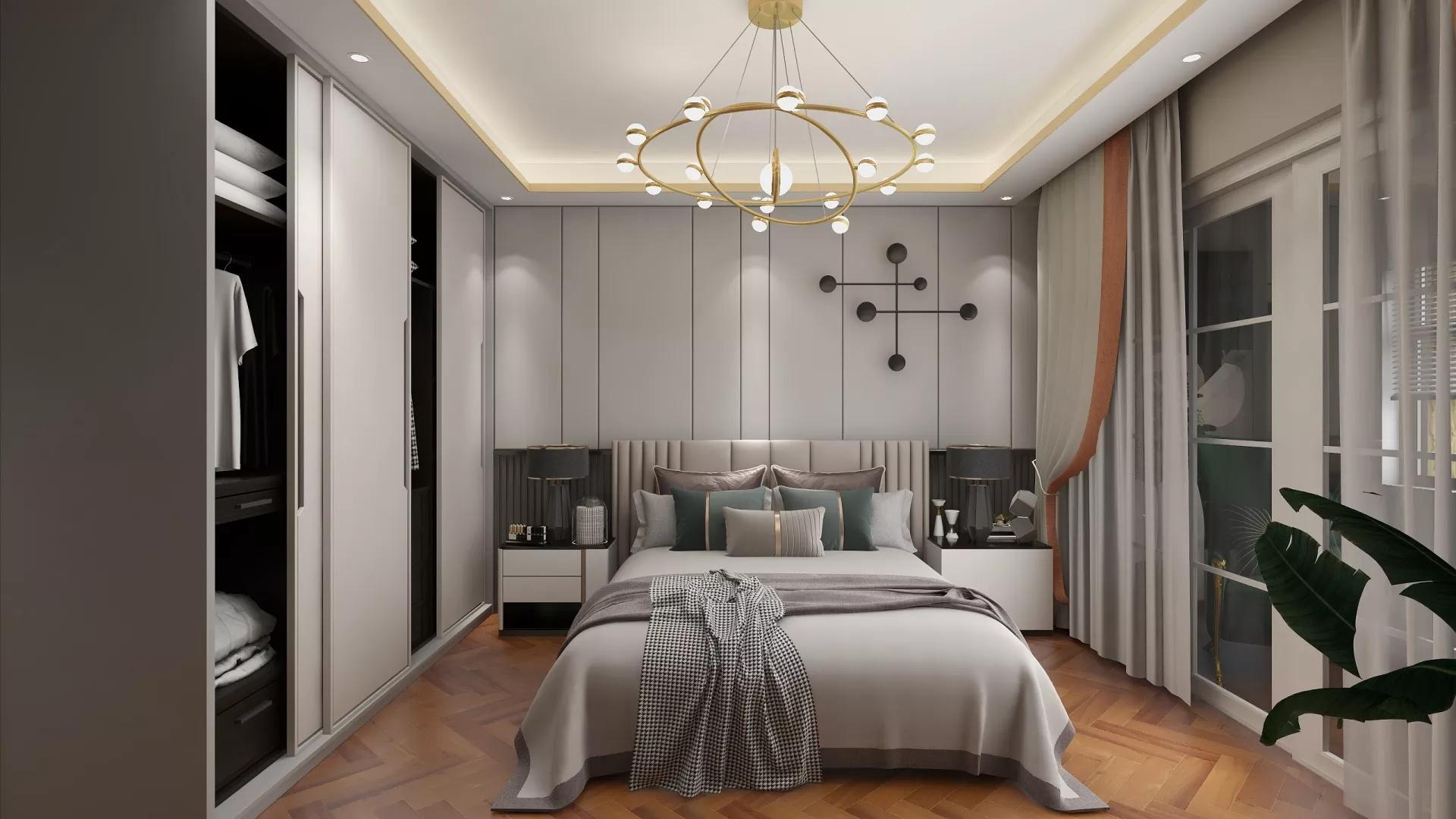 中式现代风格卧室吊顶装修设计效果图