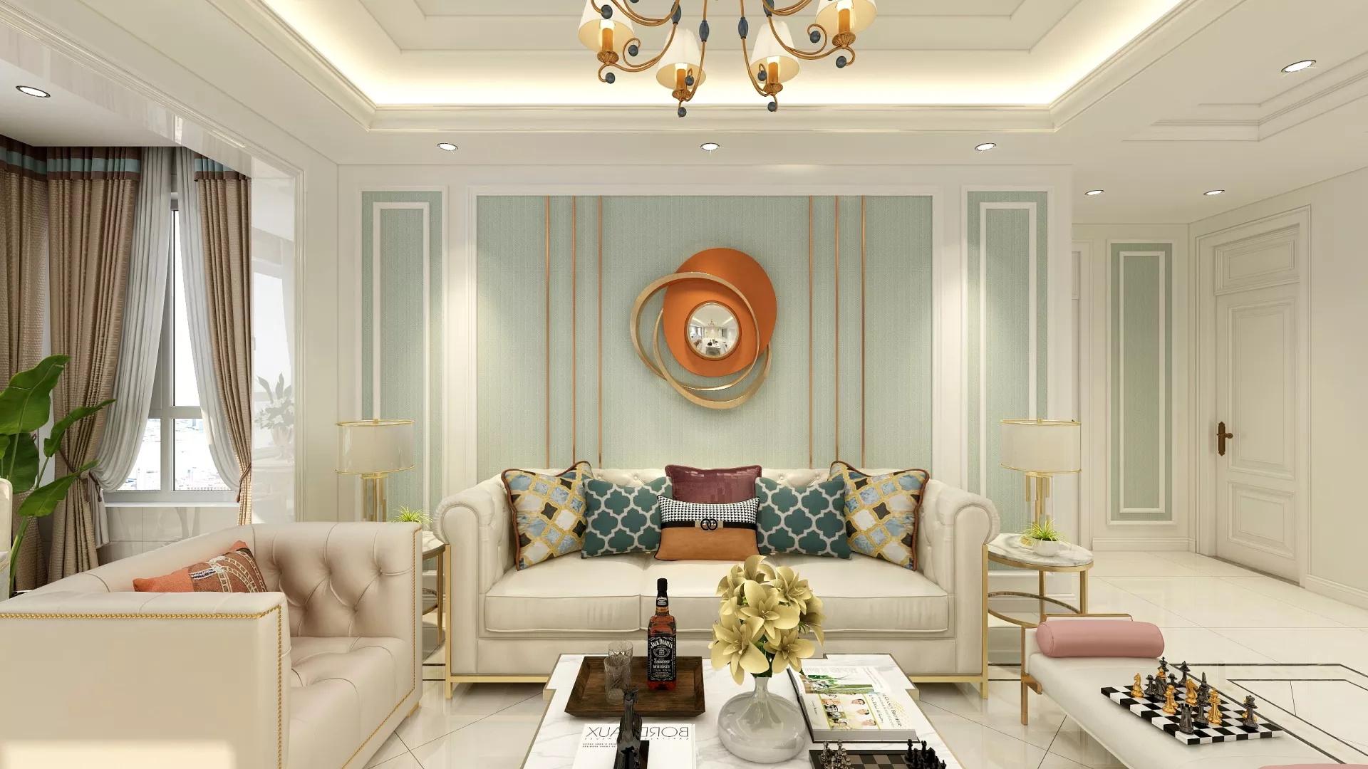 客厅,简约风格,美式风格,沙发,灯具,茶几,简洁,温馨