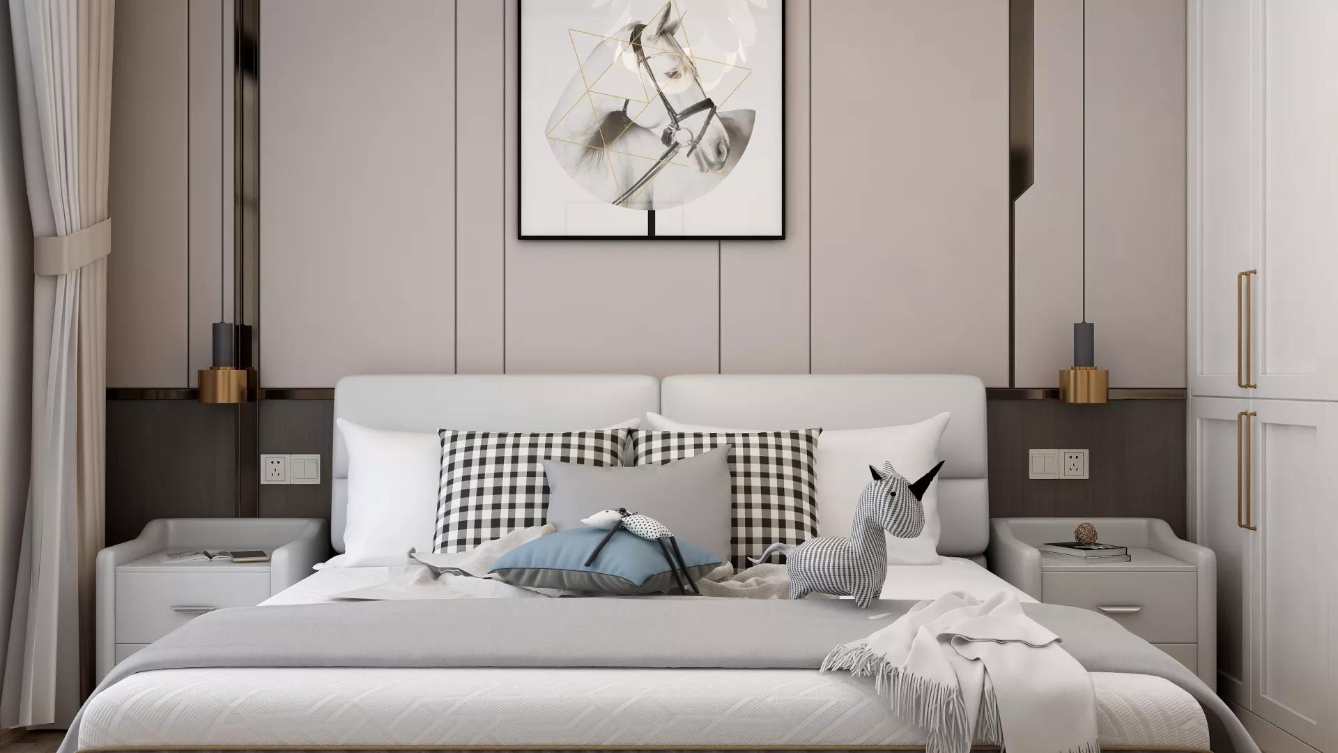 65㎡小二居北欧风格暖色调客厅装修效果图