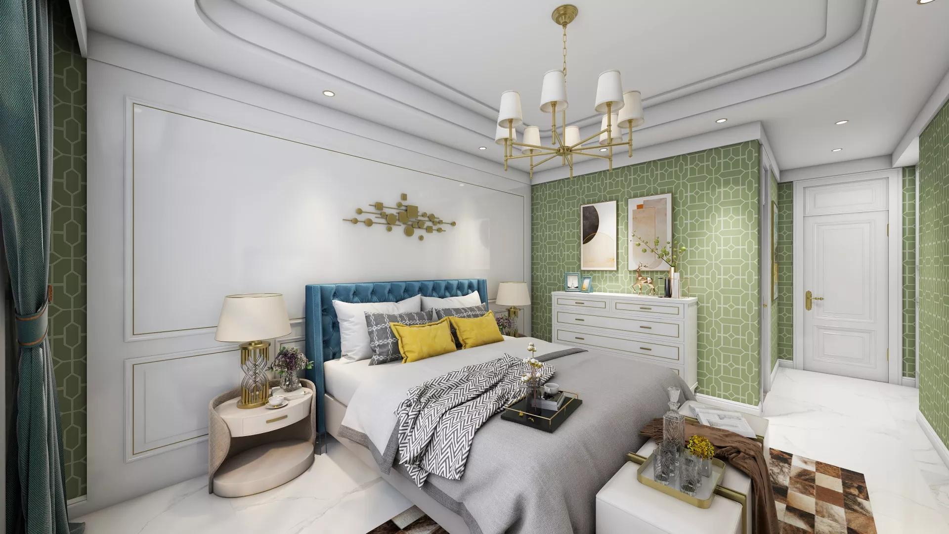 150㎡经典美式清爽优雅的雪纺蓝客厅效果图