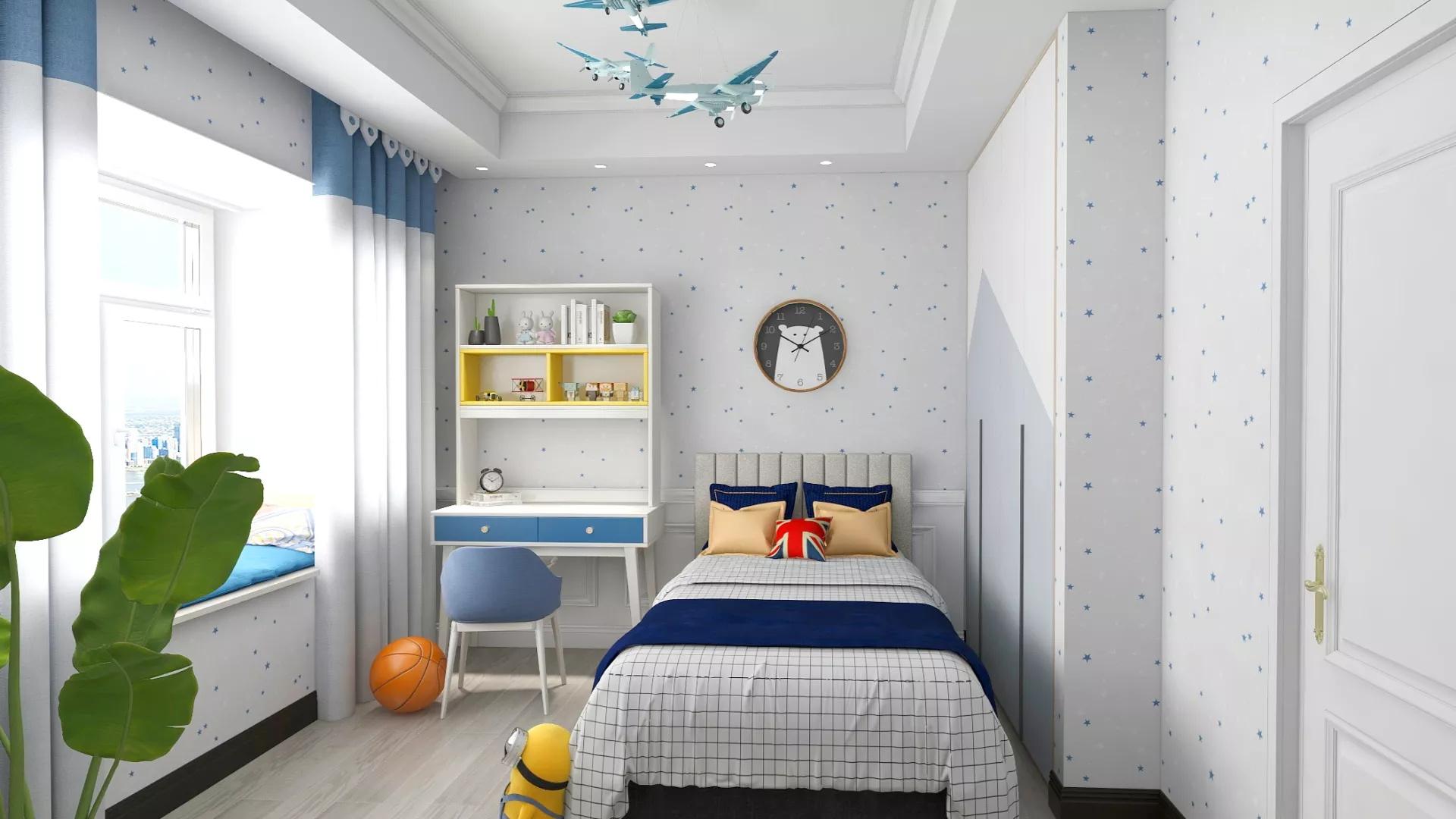 130㎡美式风格蓝色浪漫客厅设计效果图