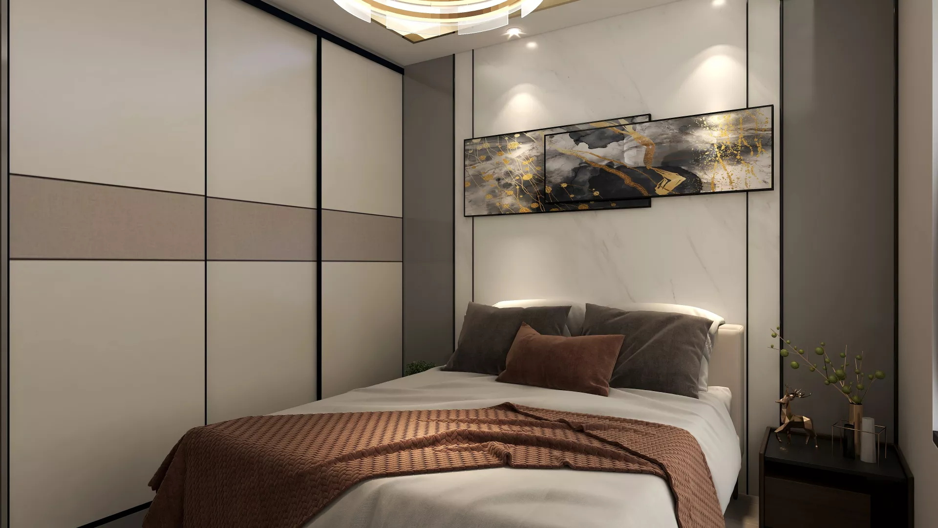 简单又高级的现代公寓客厅效果图