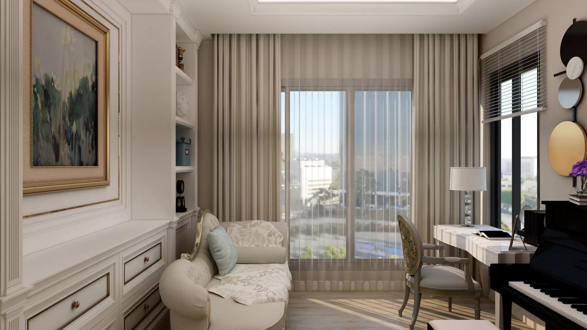 现代轻奢风质感时尚客厅阳台装修效果图