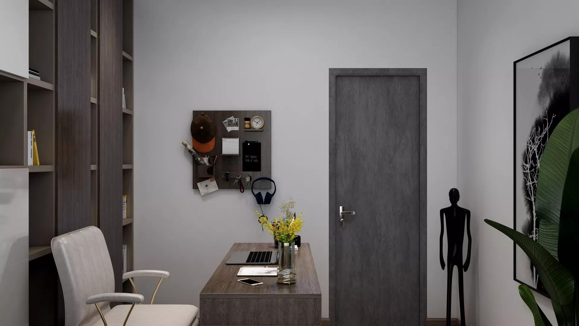 蓝色厨房吧台餐厅设计效果图