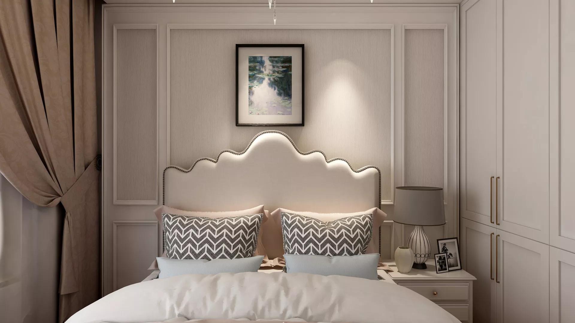 海天一色的纯美风格客厅背景墙装修效果图