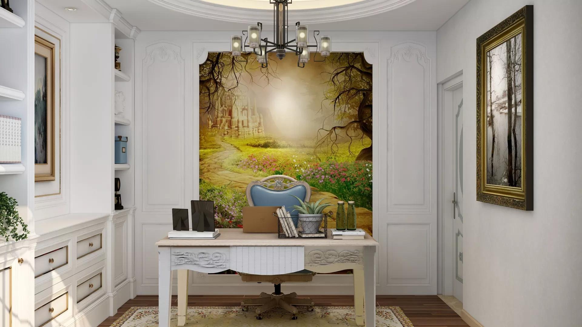 89m²复古优雅范时髦客厅装修效果图