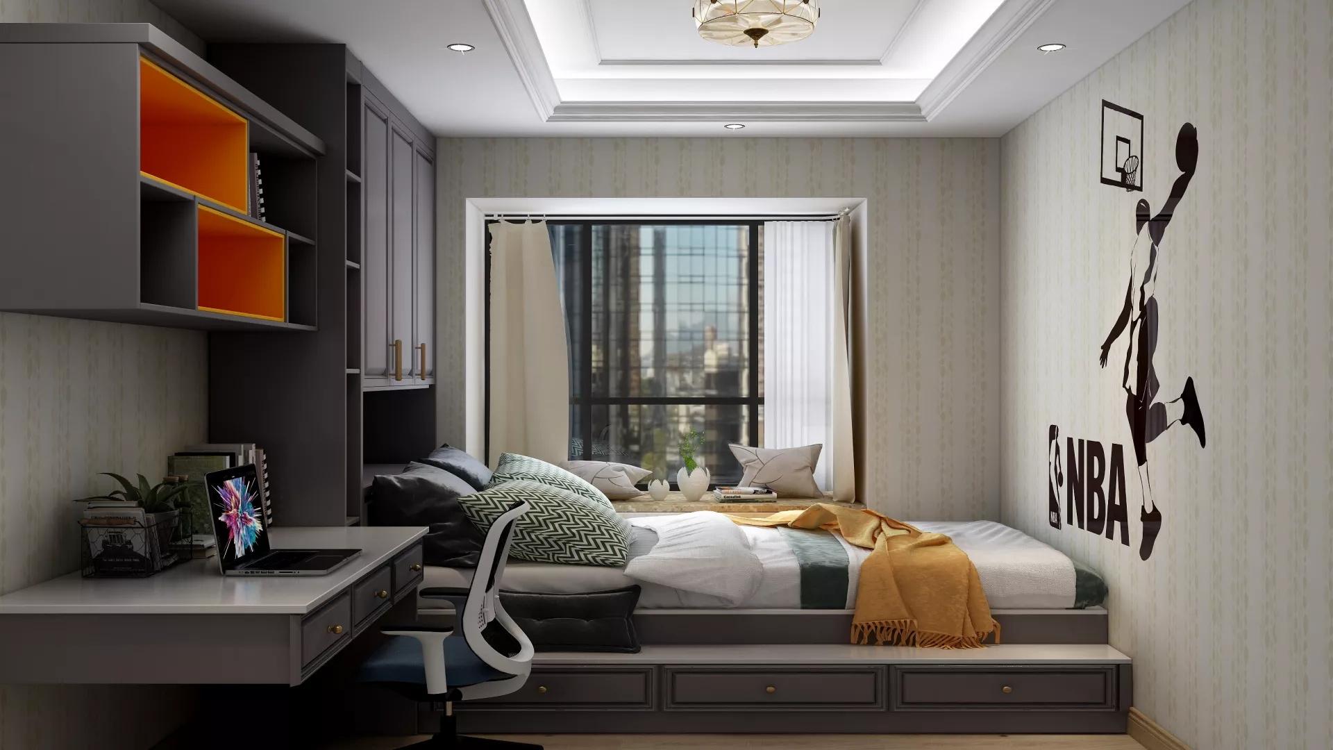 现代时尚卧室主卧带卫生间装修效果图
