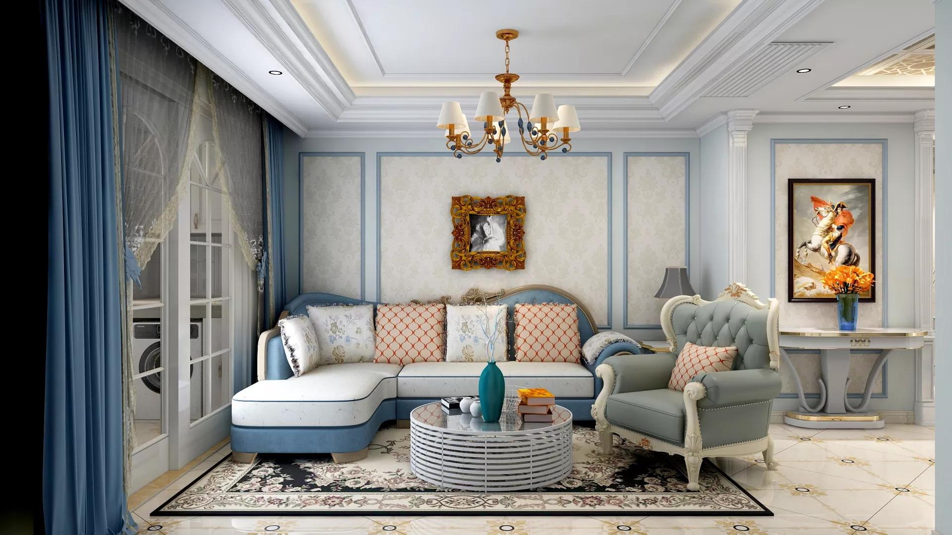 130㎡简约风格大气明亮客厅装修效果图