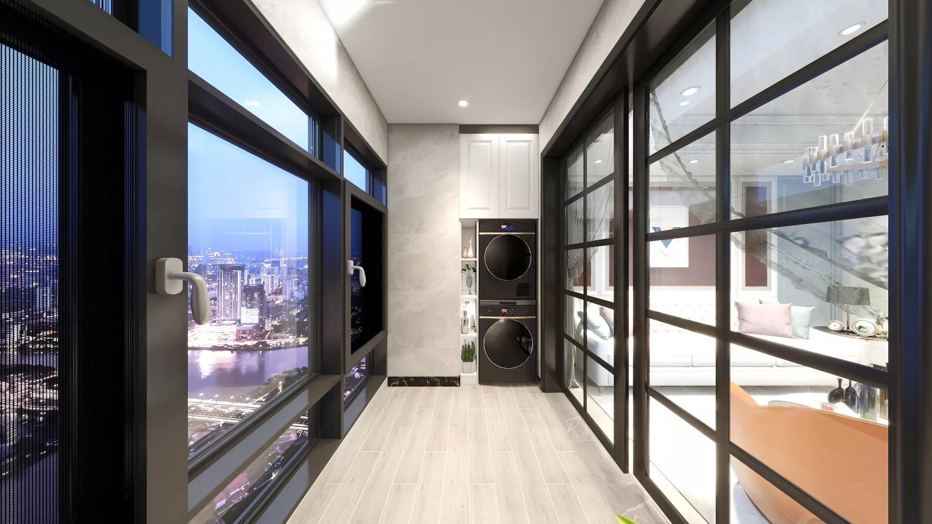 135㎡轻工业风黑白灰舒适大气客厅装修效果图