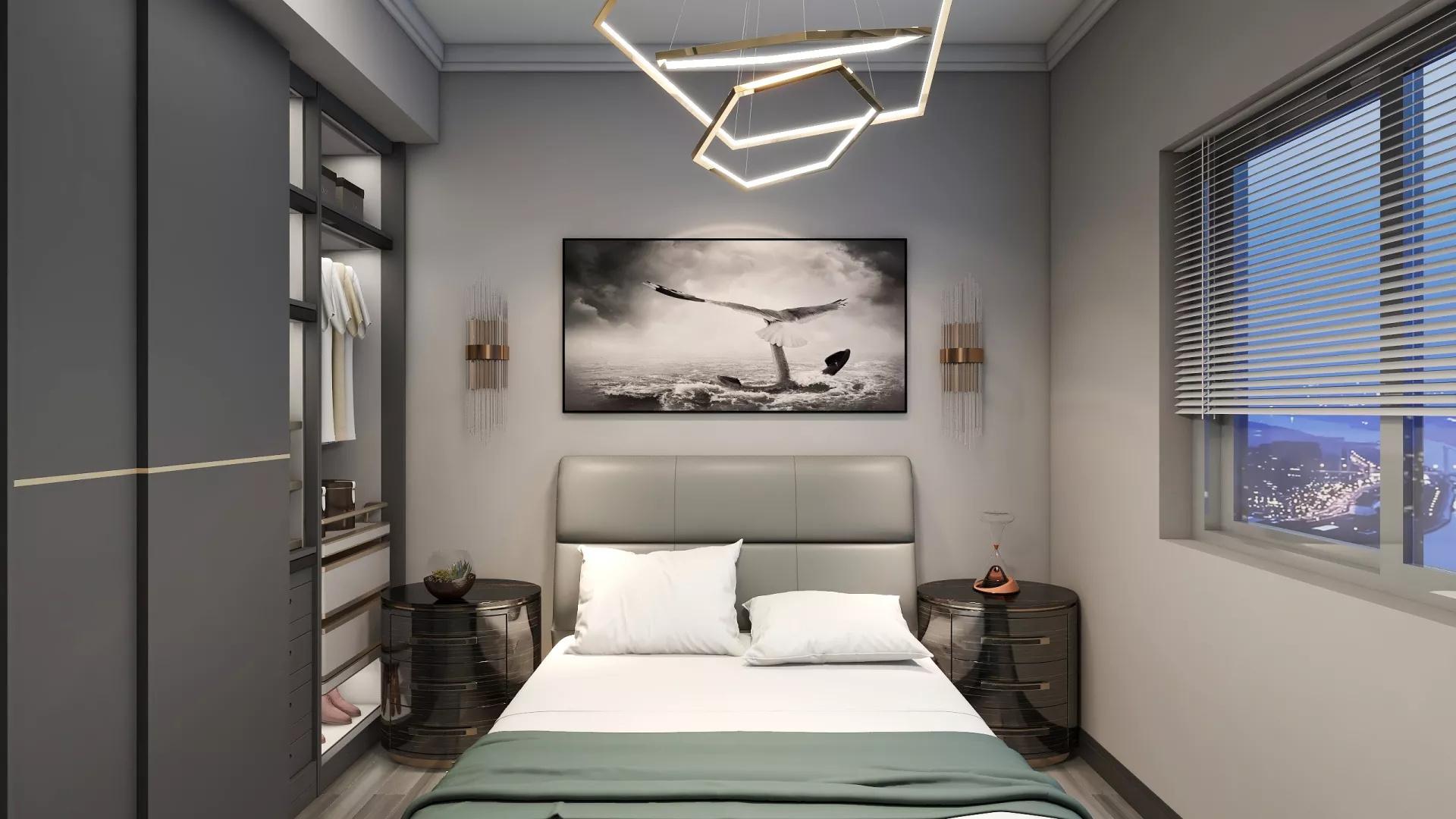 咖色系淡雅日式风格三居室装修效果图
