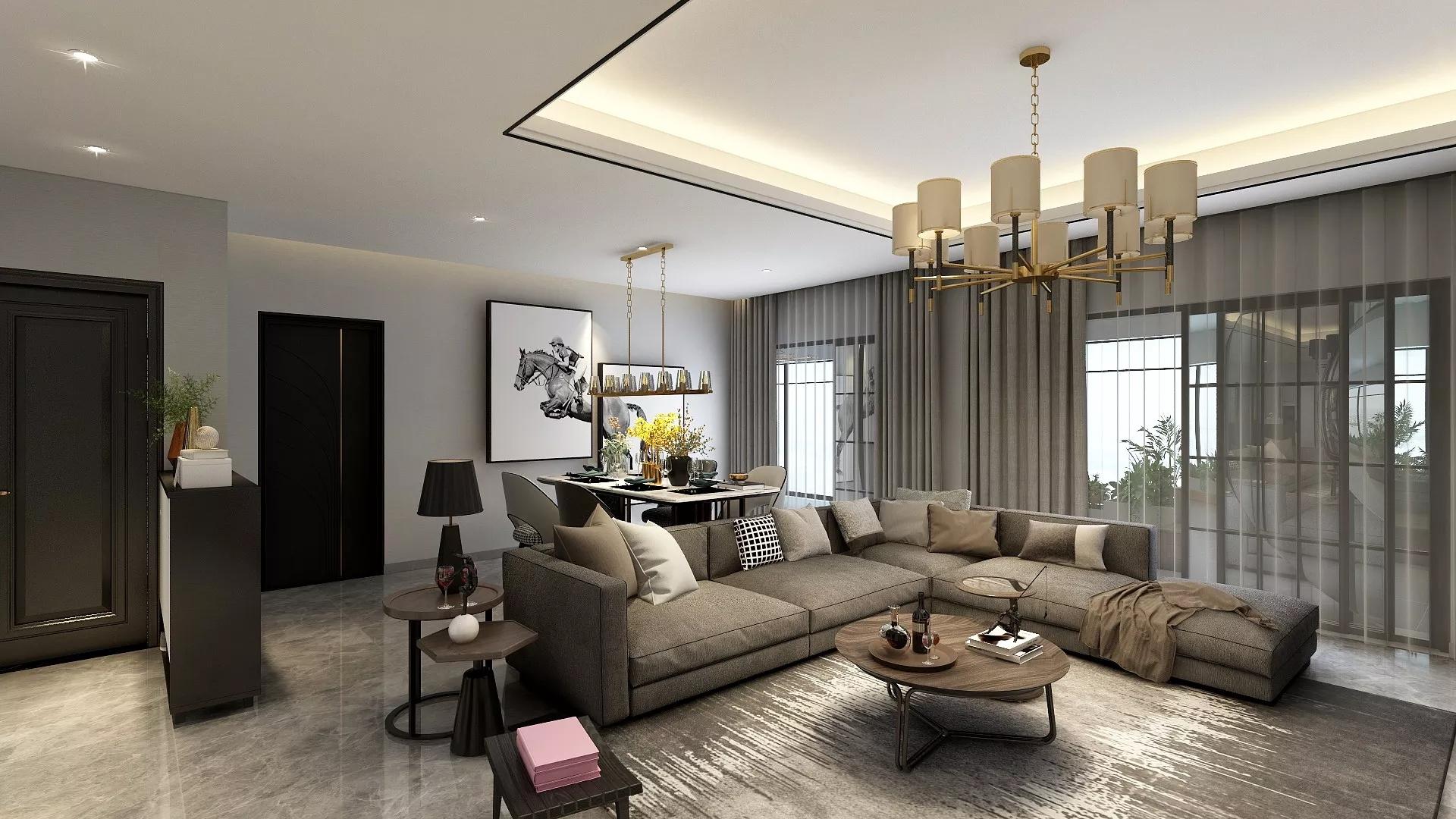 70平简约美式风格二居室装修效果图
