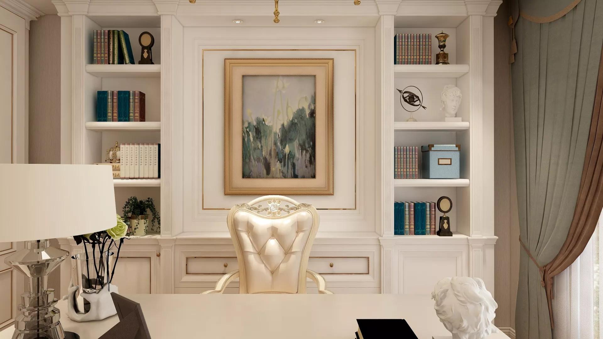 典雅现代简欧式混搭风格开放式家居设计效果图