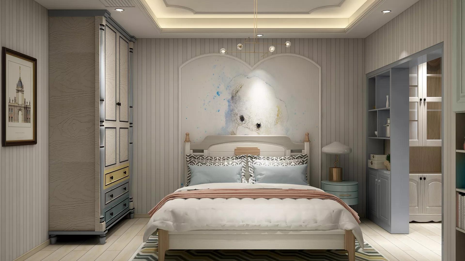 90㎡现代北欧三居室装修效果图