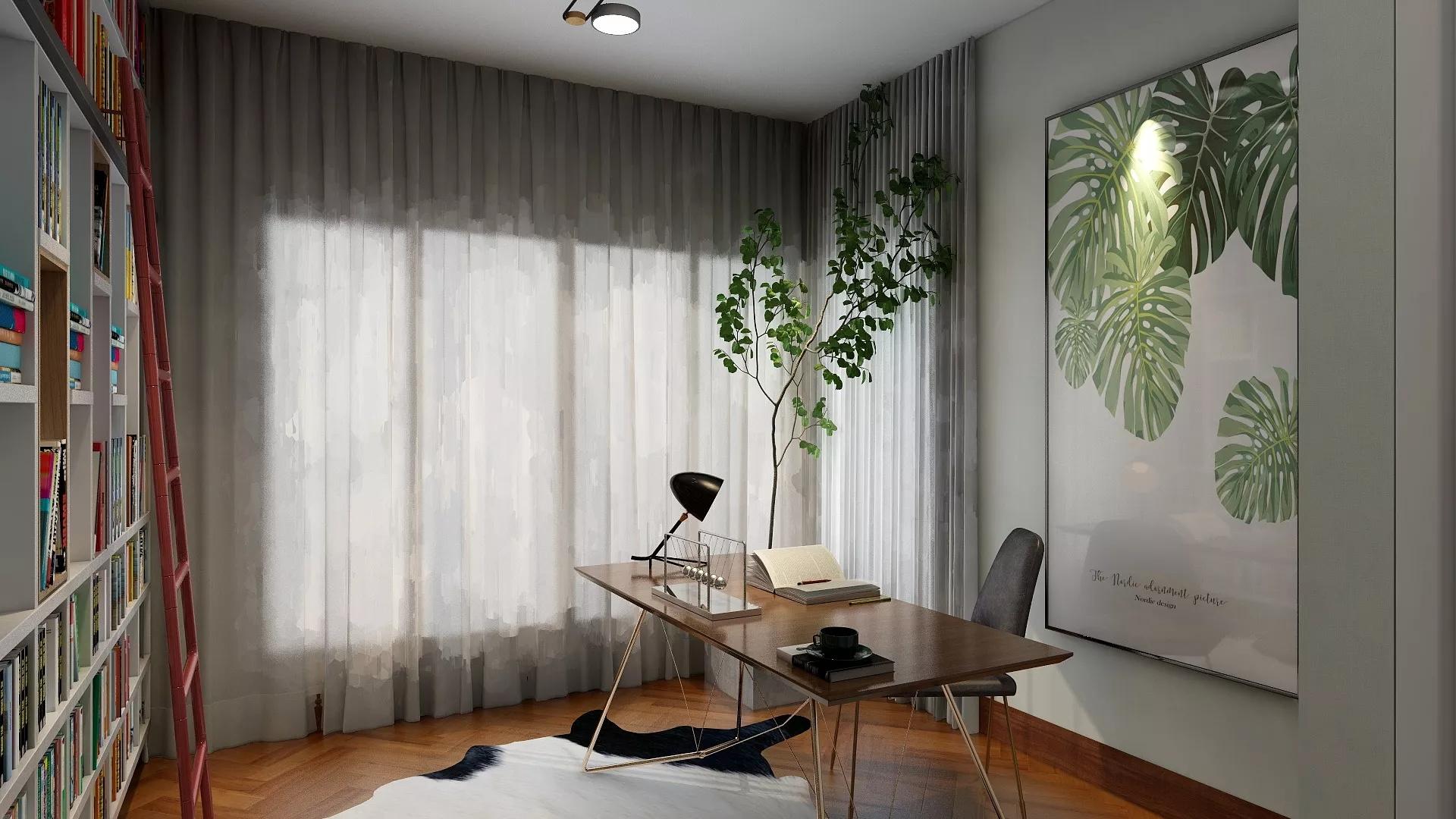 80㎡北欧风格混搭公寓装修效果图