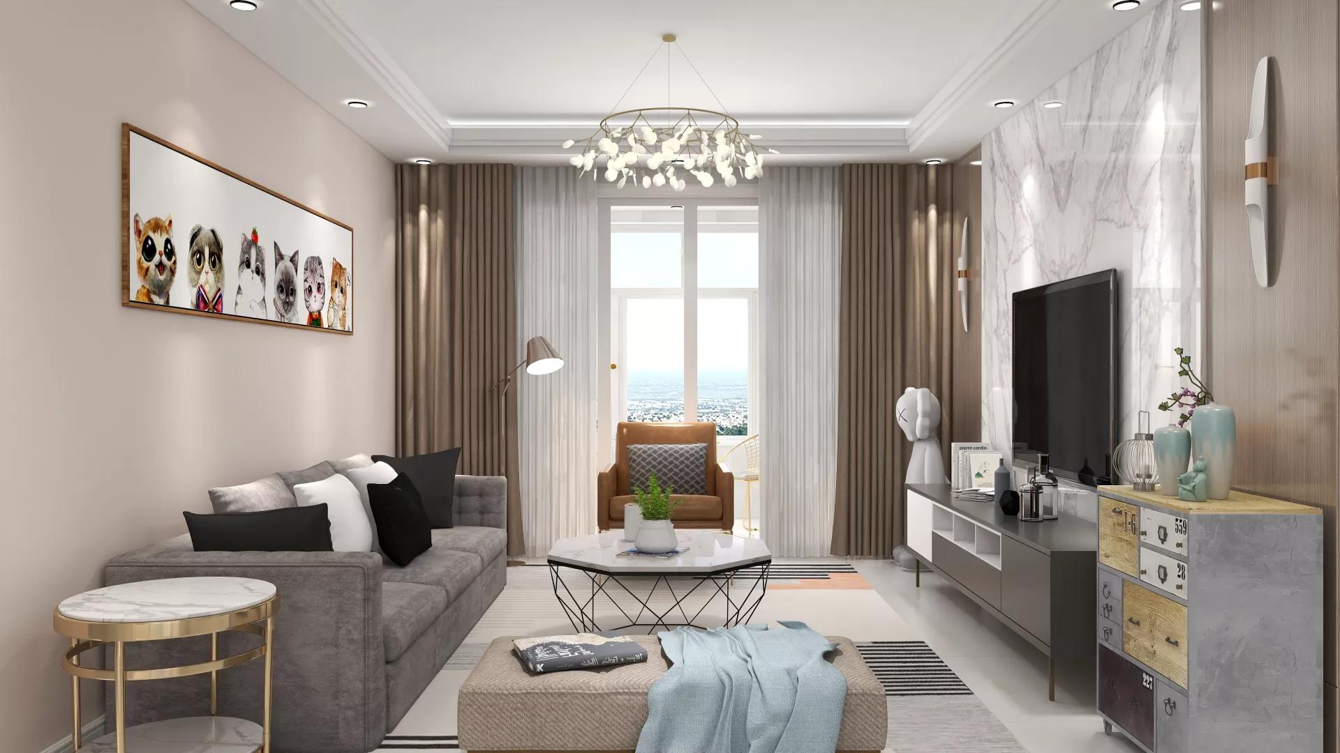 大户型现代美式风格家居装修效果图
