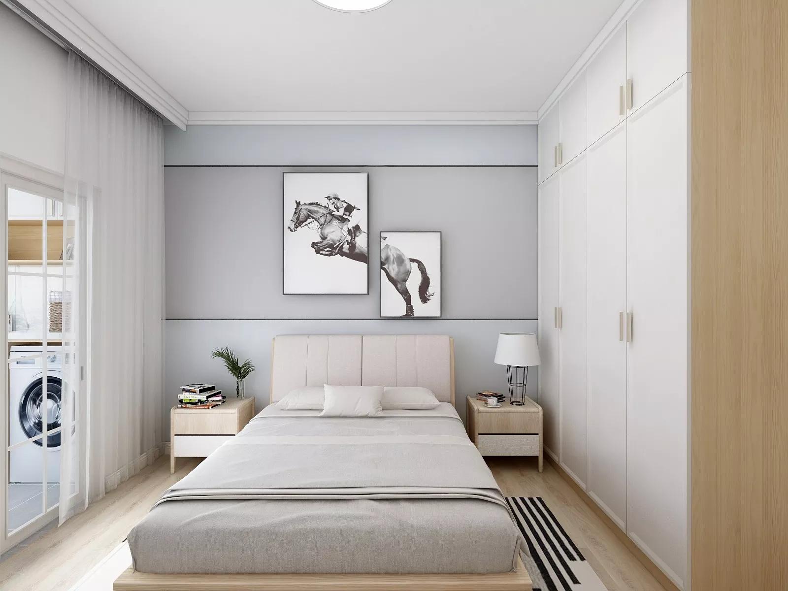 现代白色简洁风卧室装修效果图