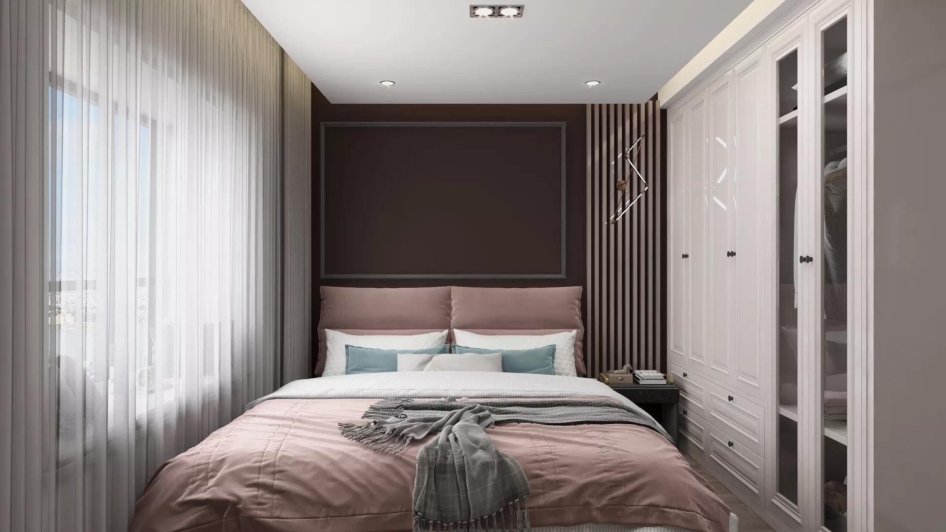 130平美式风格三居室装修布置效果图